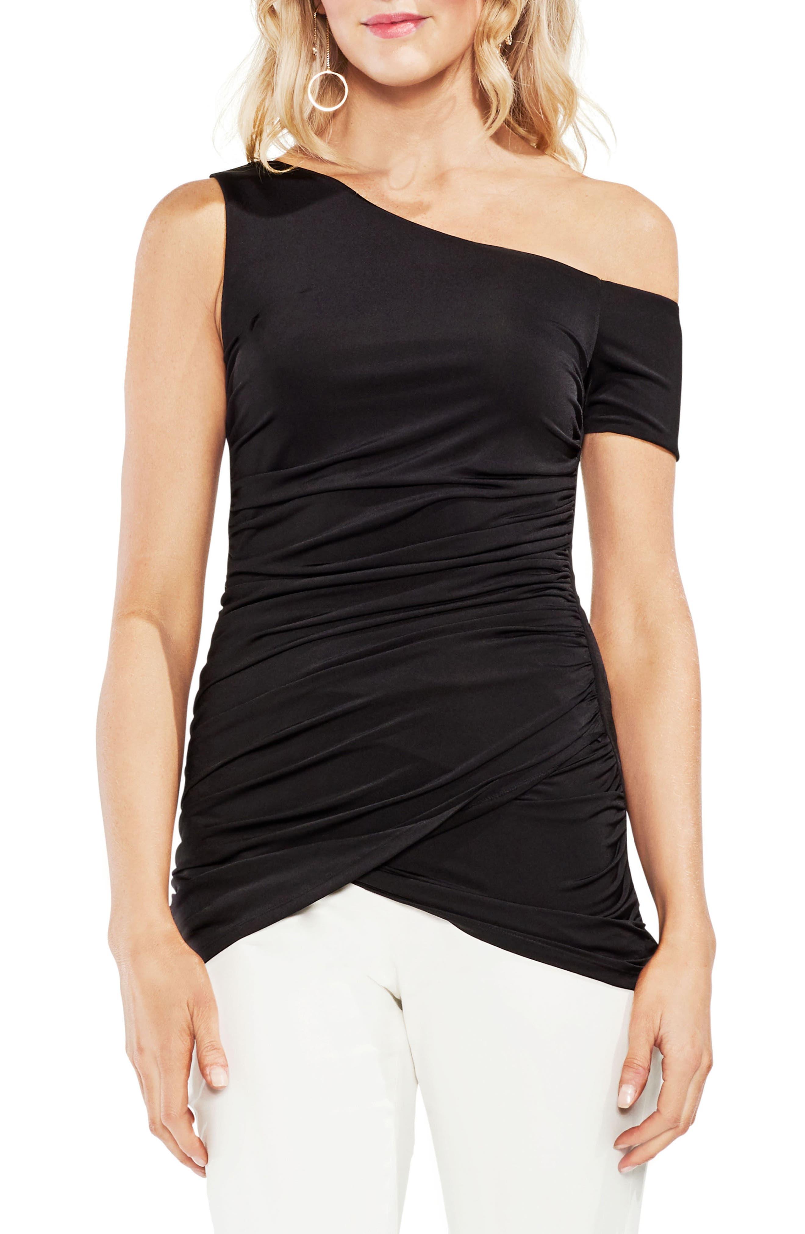 One-Shoulder Ruched Liquid Knit Top,                         Main,                         color, 060-Rich Black