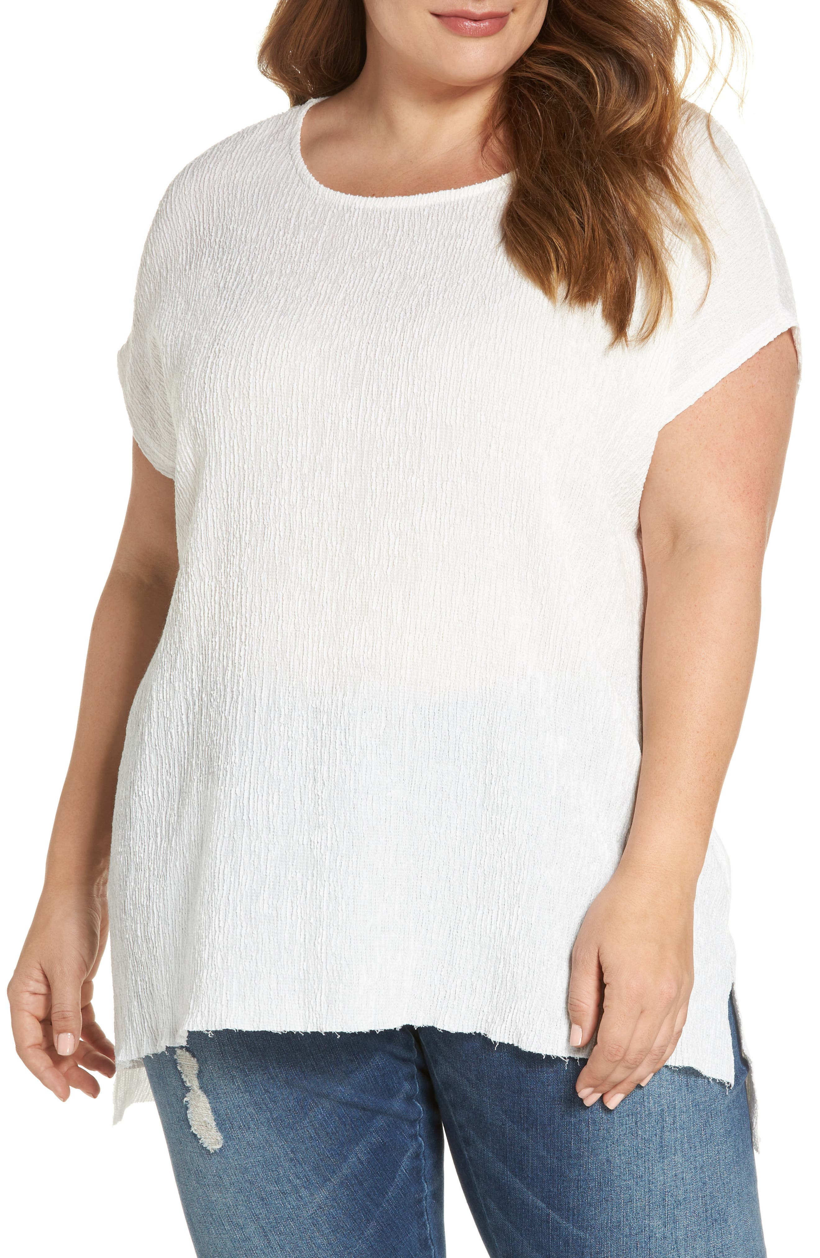 High/Low Crinkle Top,                         Main,                         color, Whisper White
