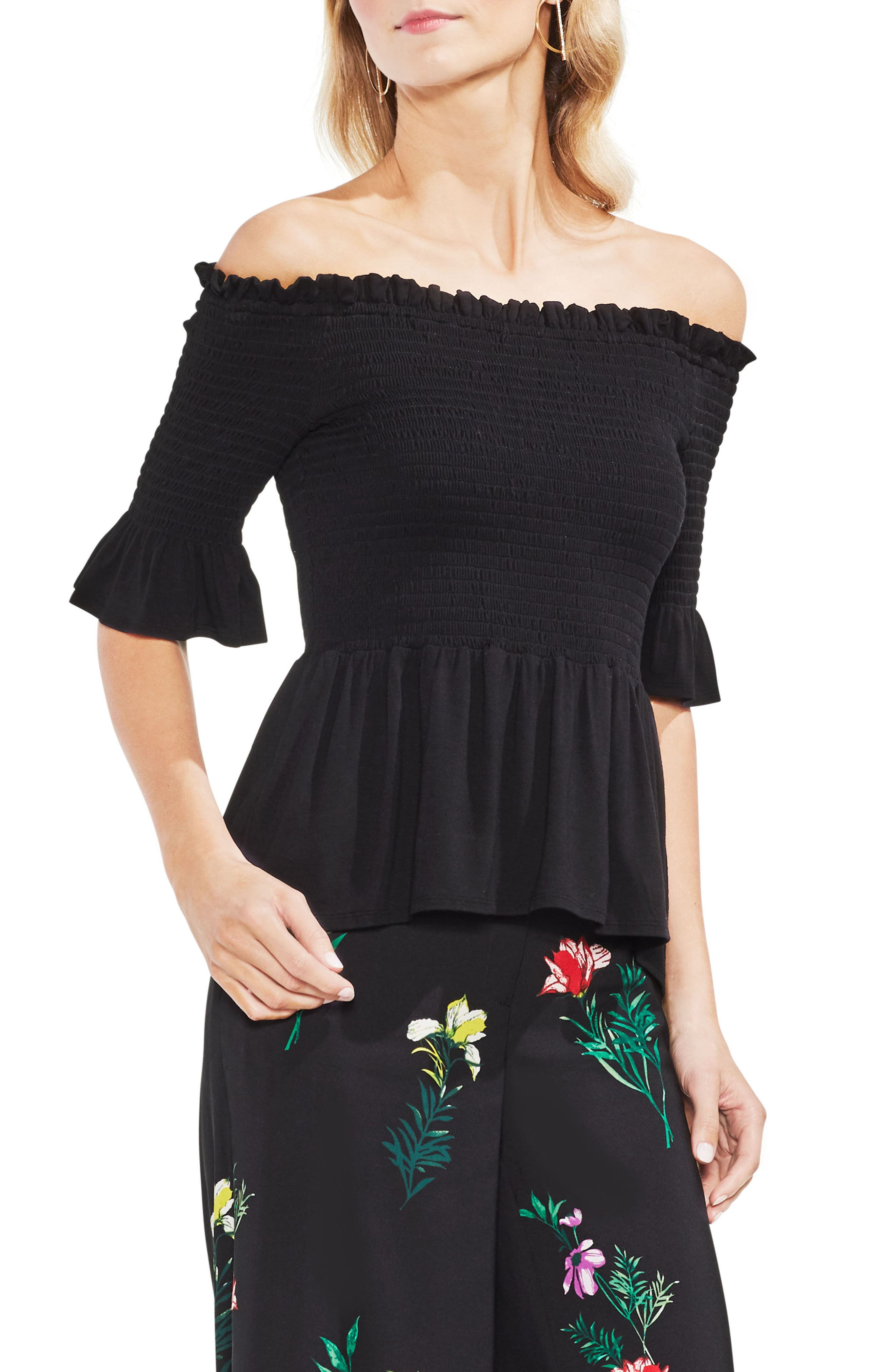 Off the Shoulder Smocked Top,                             Main thumbnail 1, color,                             Rich Black