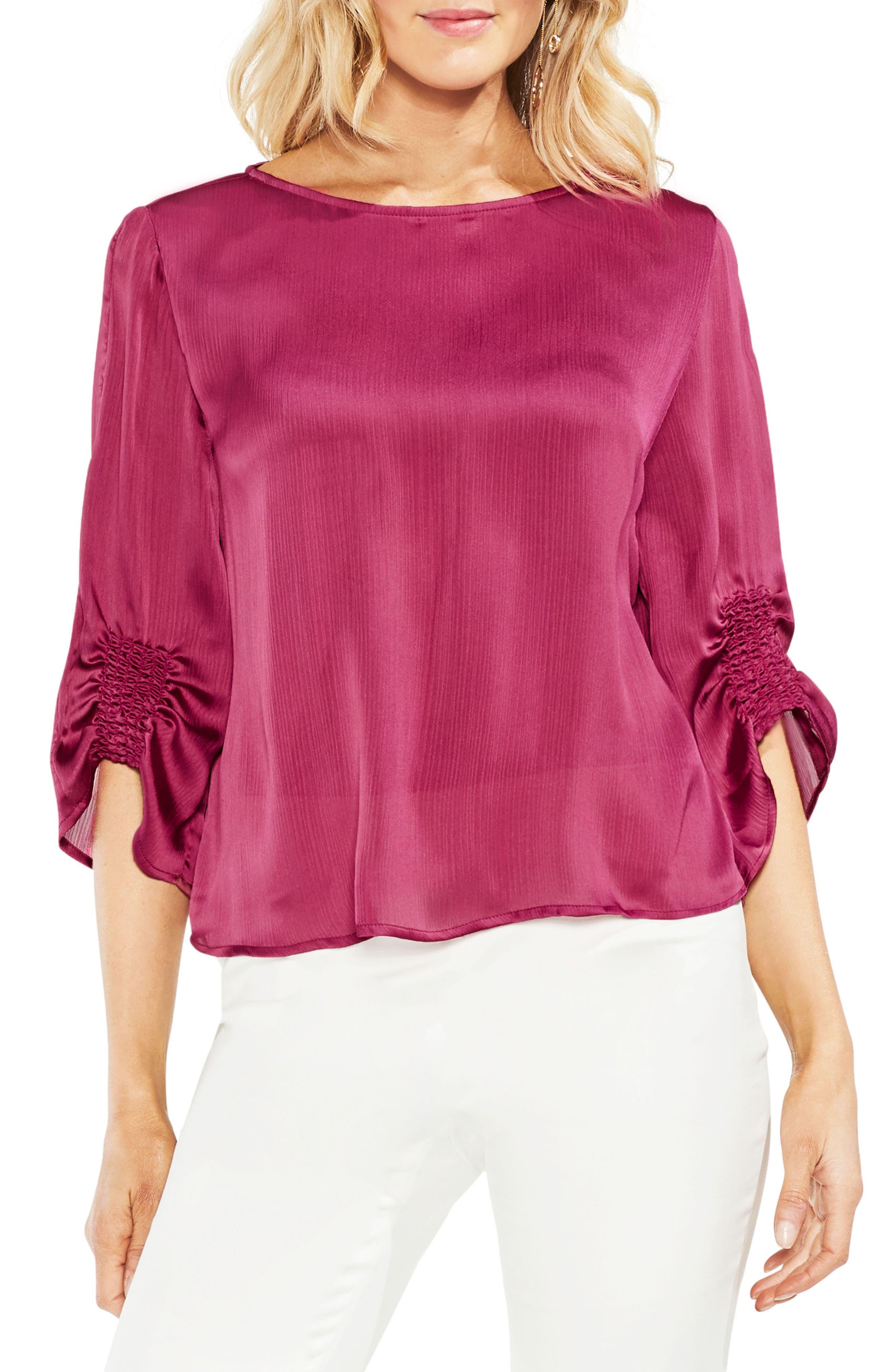 Textured Satin Blouse,                         Main,                         color, Pink Rose