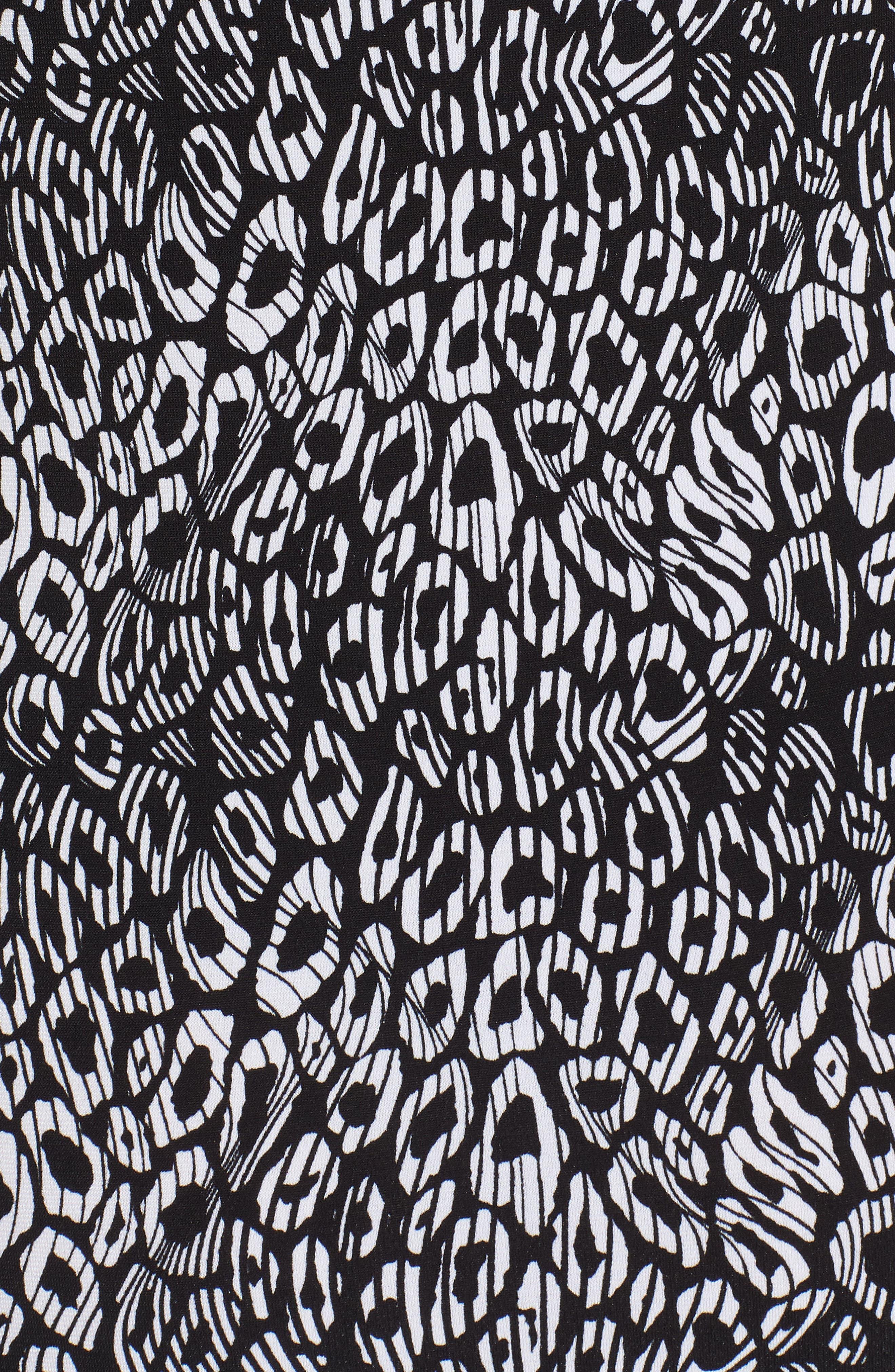 Wavy Leopard Print Tank Maxi Dress,                             Alternate thumbnail 6, color,                             Black/ White