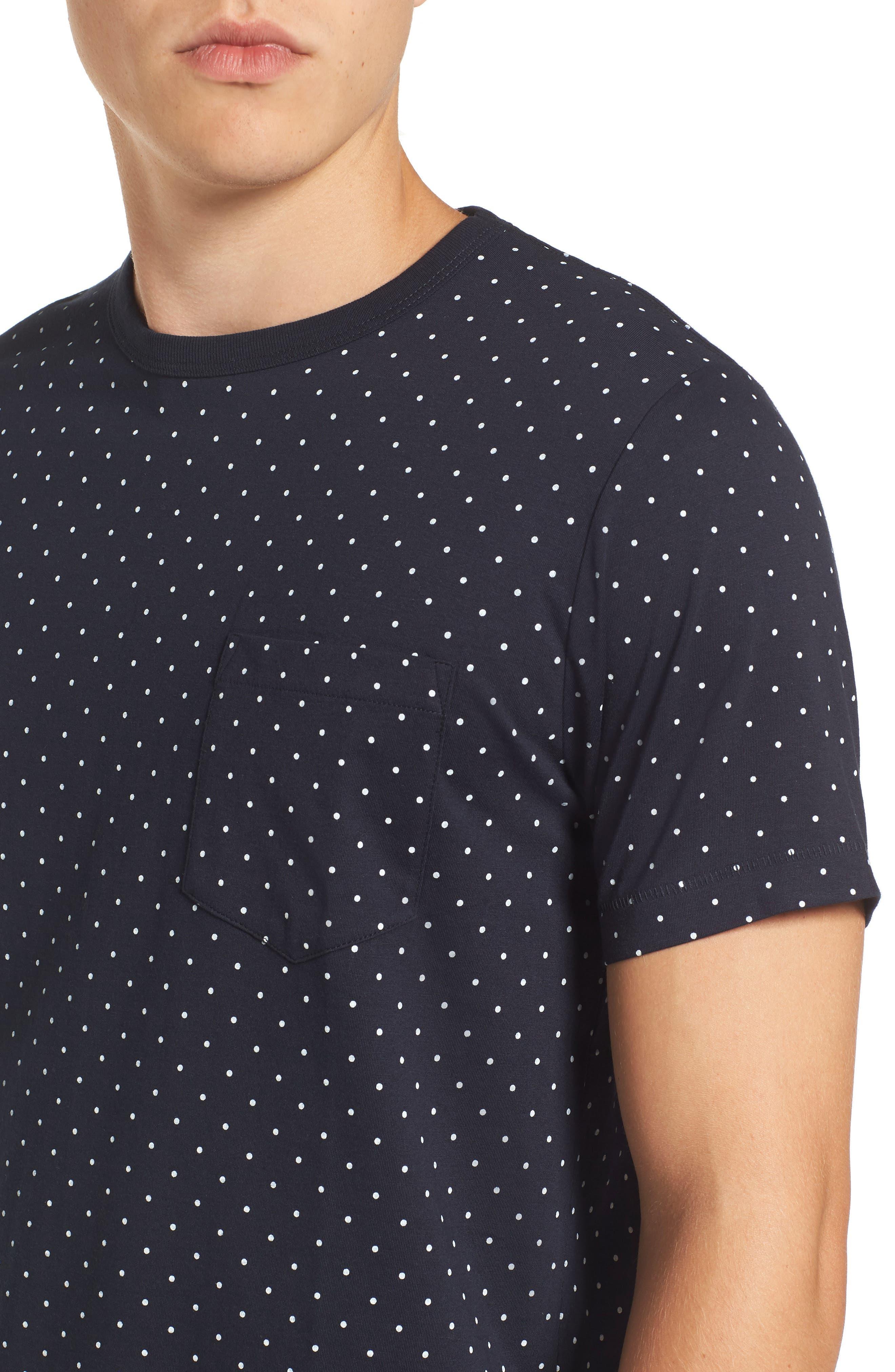 Spot Crewneck T-Shirt,                             Alternate thumbnail 4, color,                             Marine Blue White