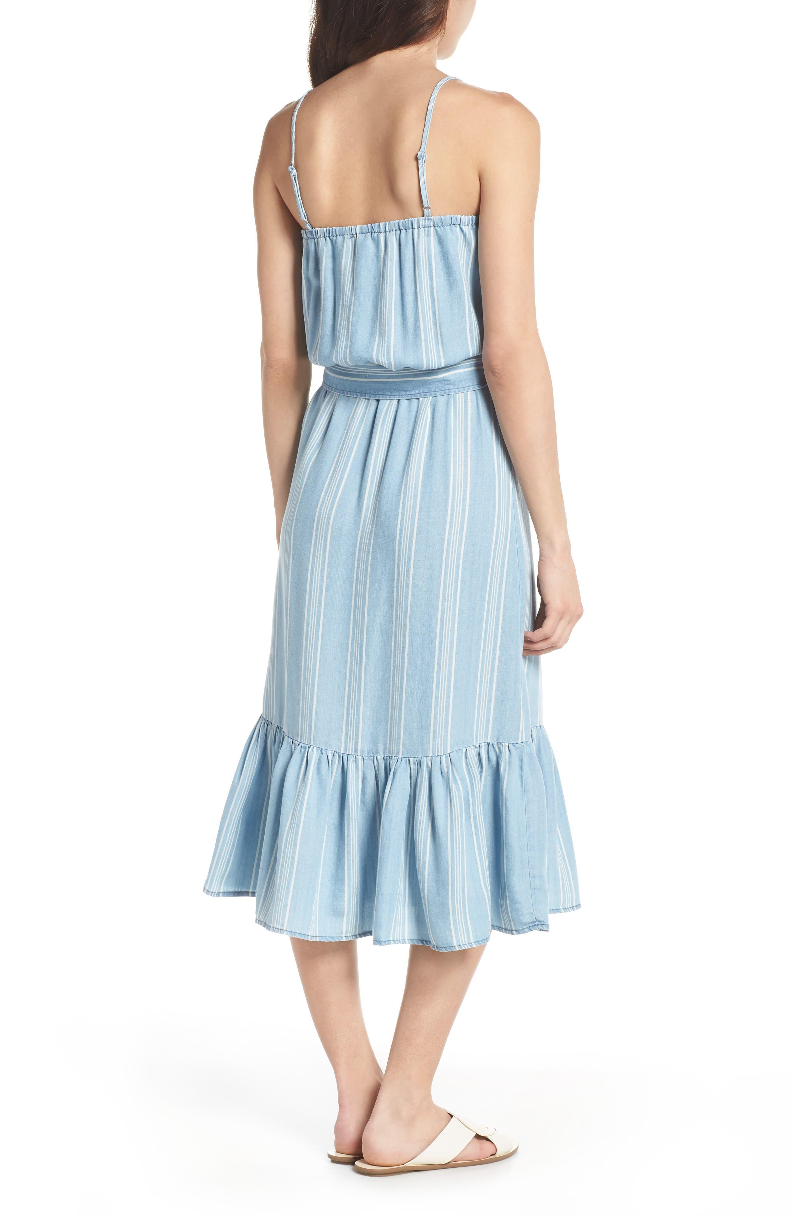 Tailyn Stripe Midi Dress,                             Alternate thumbnail 2, color,                             Chambray