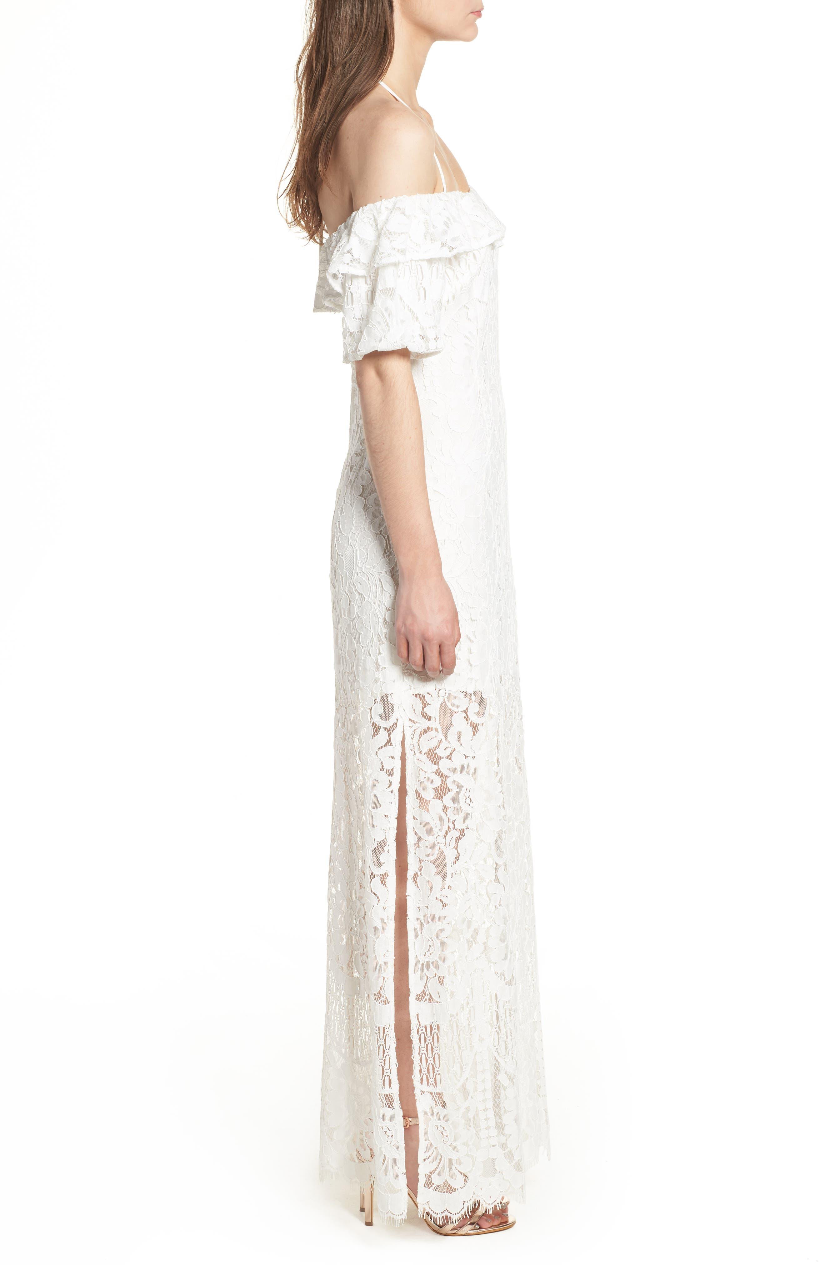 Tasha Off the Shoulder Halter Maxi Dress,                             Alternate thumbnail 3, color,                             Ivory
