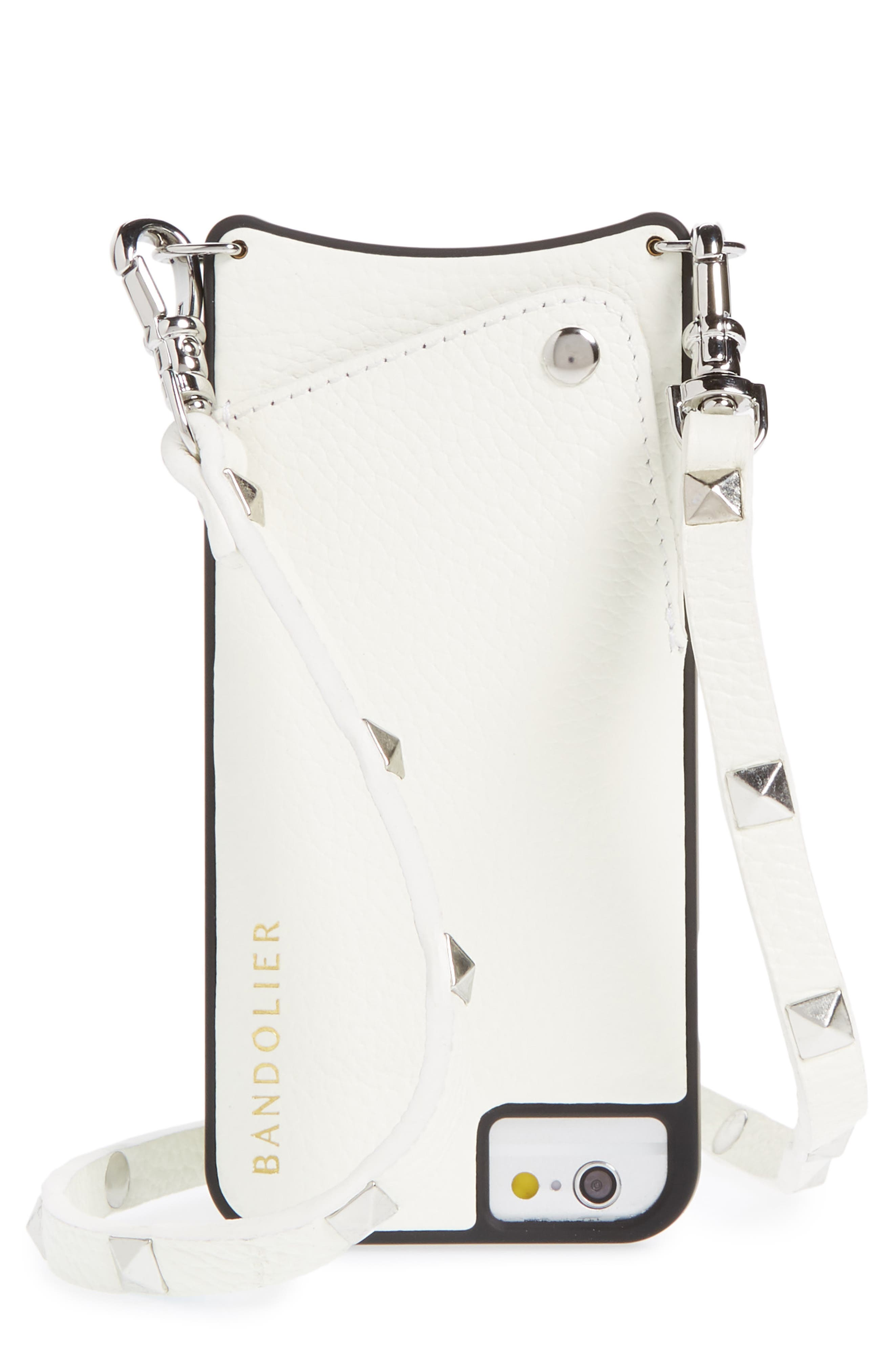 Sarah Leather iPhone 6/7/8 & 6/7/8 Plus Crossbody Case,                         Main,                         color, White/ Silver