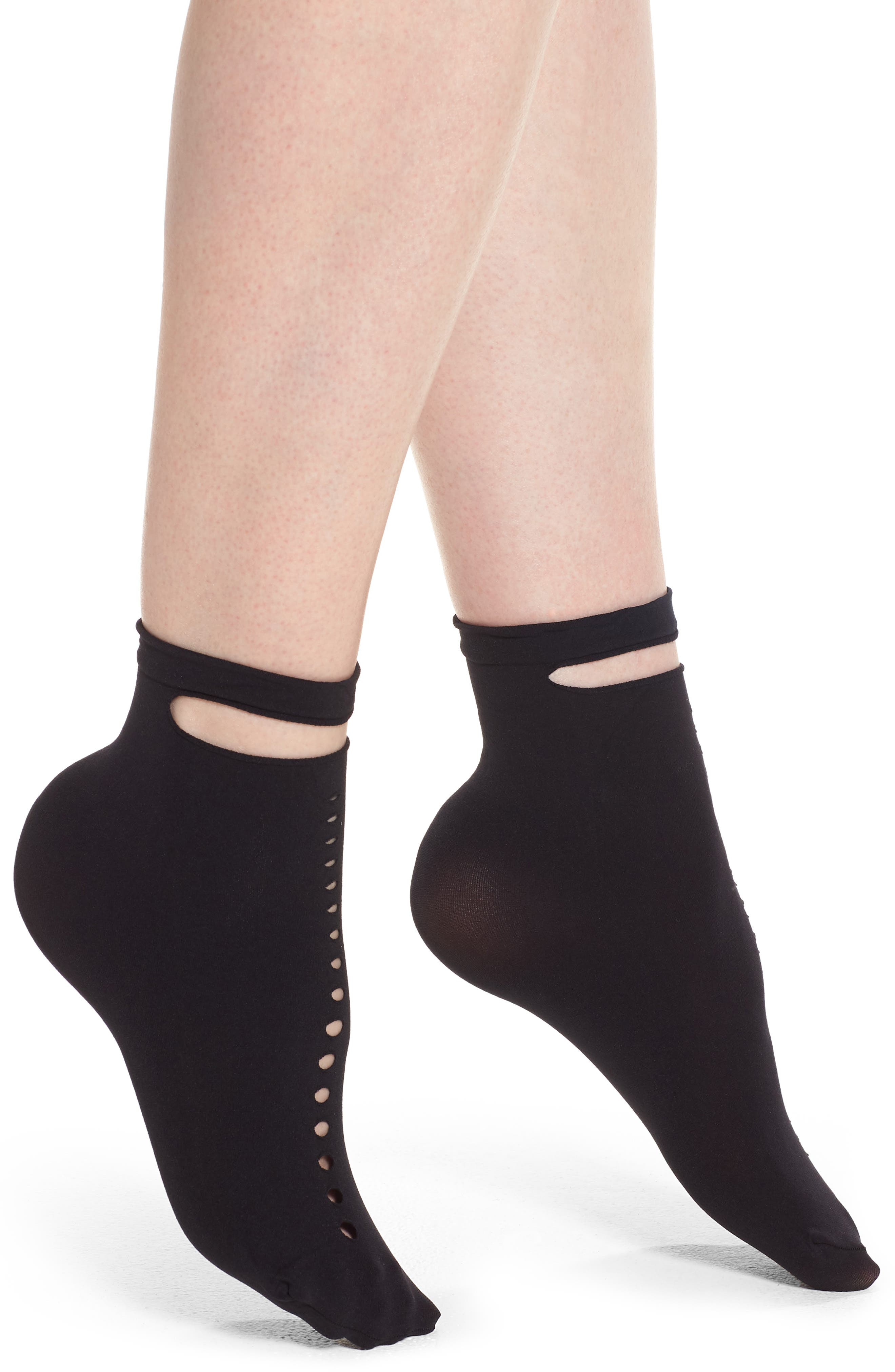 Calzino Abstract Belted Ankle Socks,                             Main thumbnail 1, color,                             Black