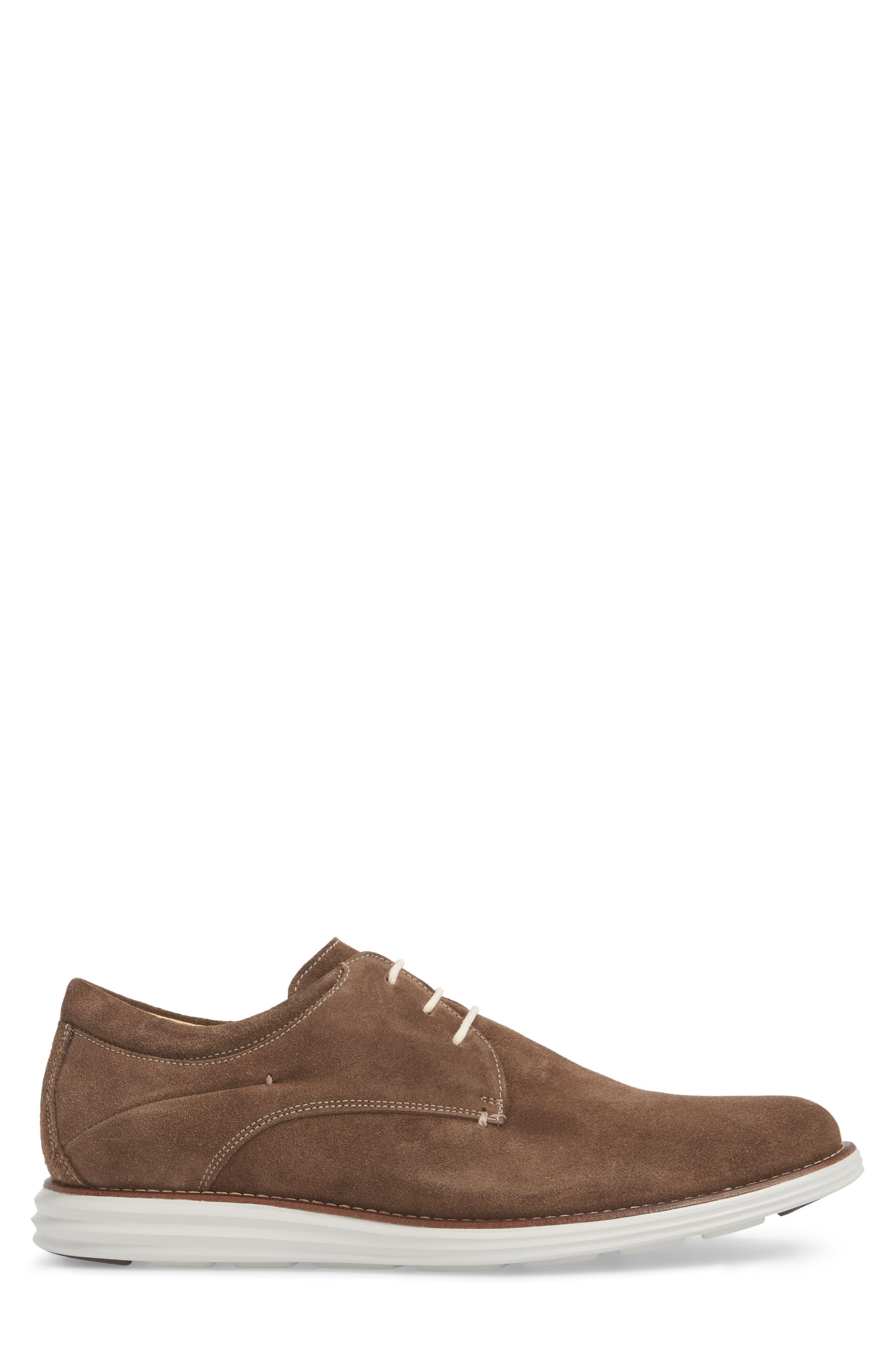 Planalto Plain Toe Derby,                             Alternate thumbnail 3, color,                             Suede Truffle Leather