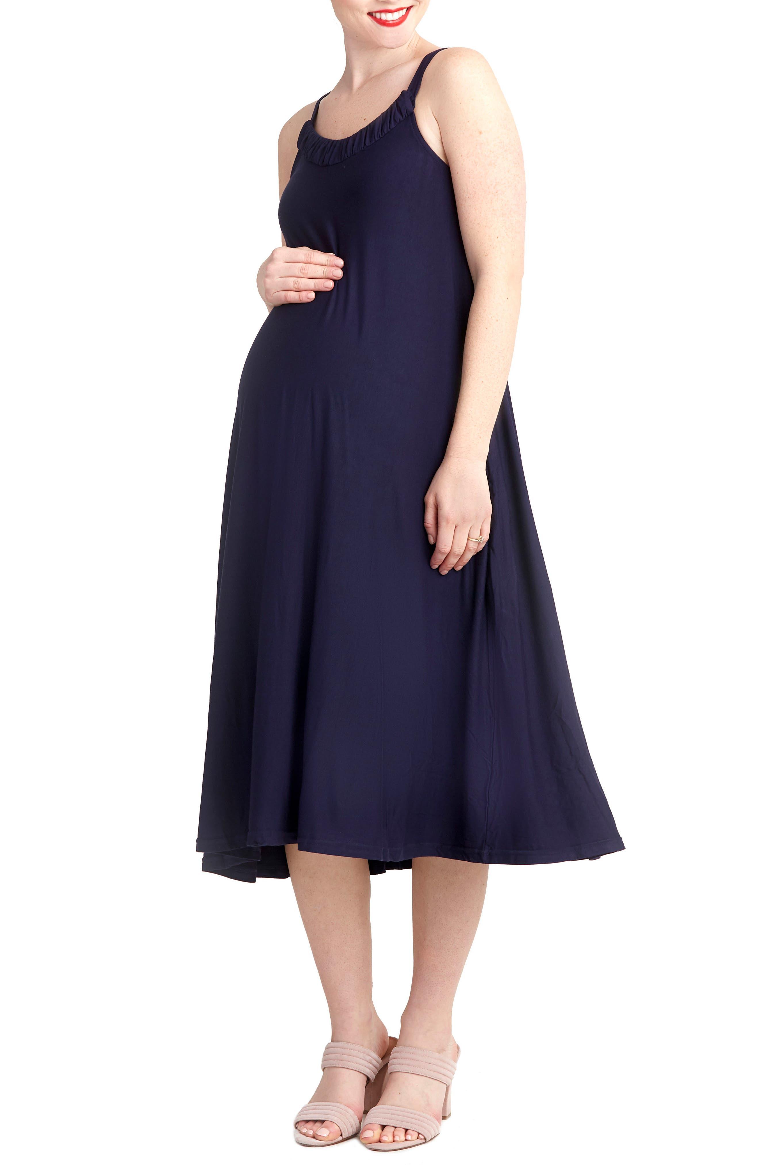 Andrea Maternity Midi Dress,                             Main thumbnail 1, color,                             Navy
