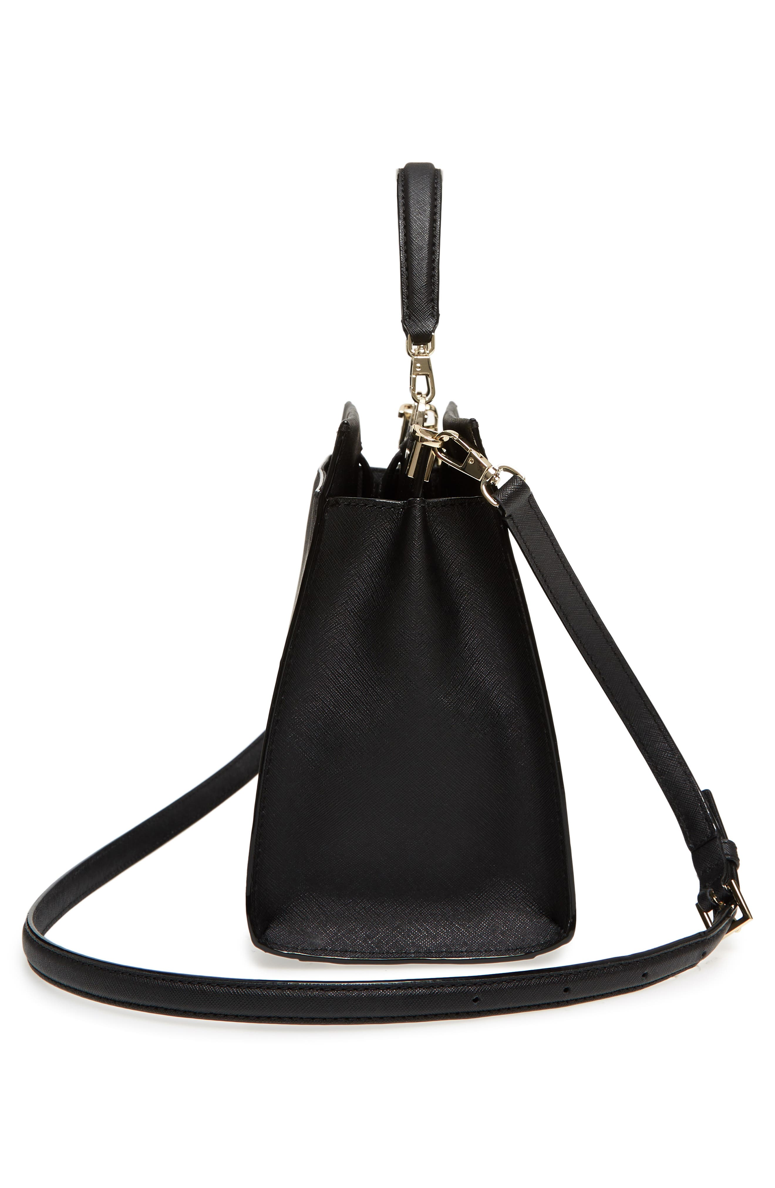 cameron street - sara leather satchel,                             Alternate thumbnail 5, color,                             Black