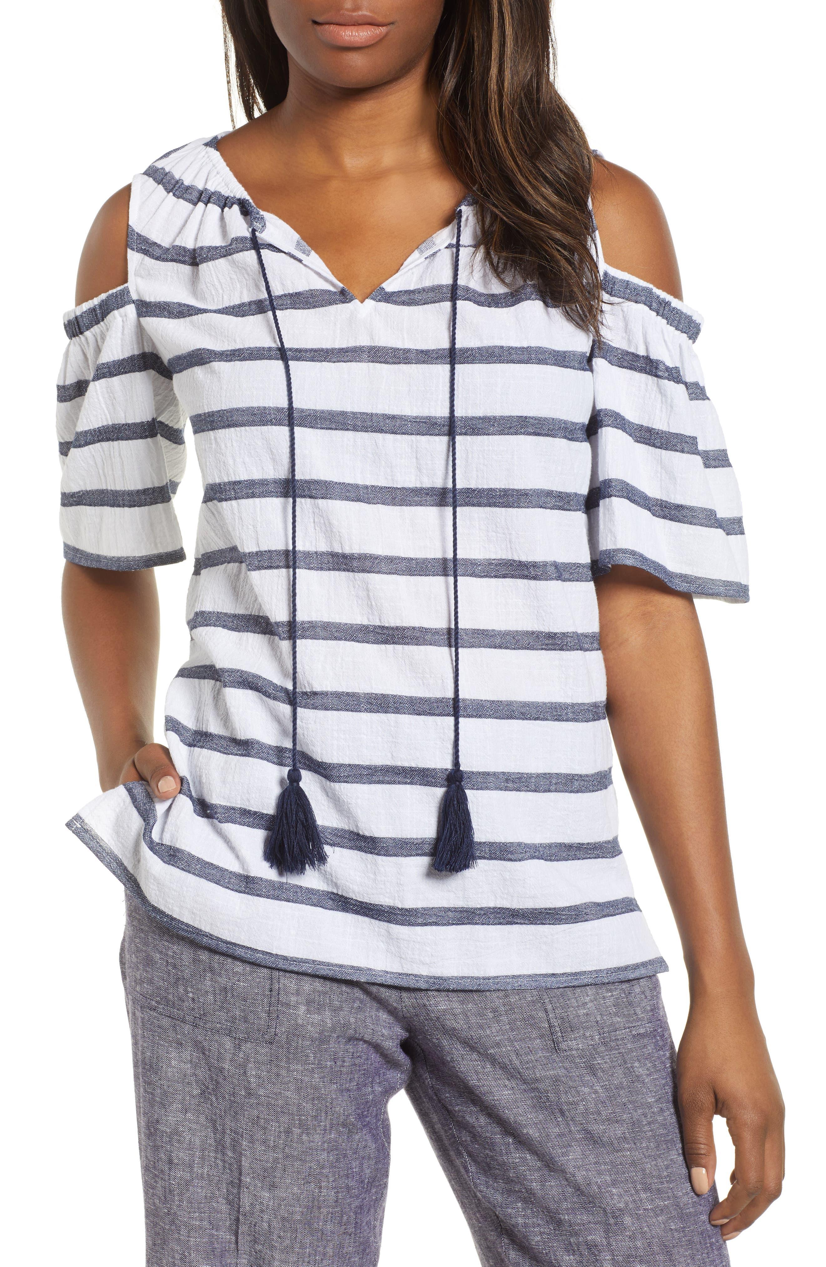 Chaus Stripe Cold Shoulder Cotton Gauze Top