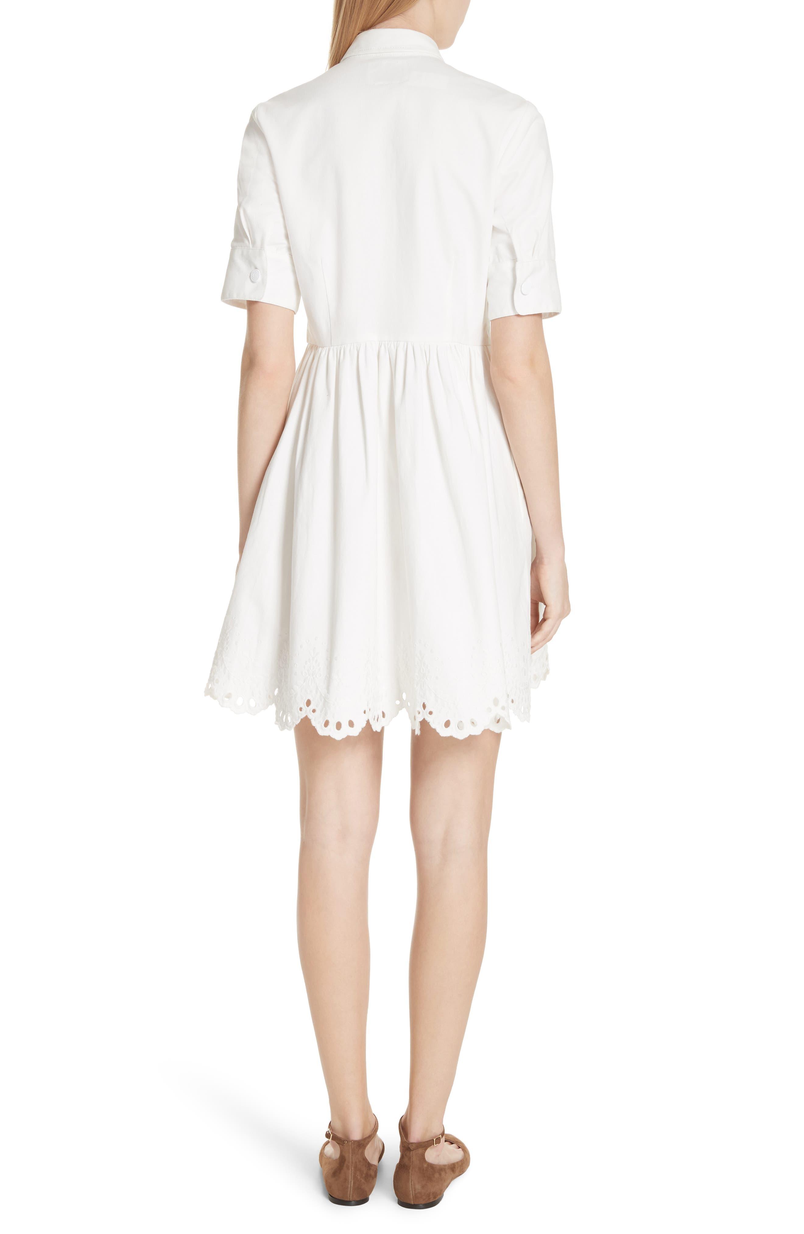 cutwork denim shirtdress,                             Alternate thumbnail 2, color,                             White