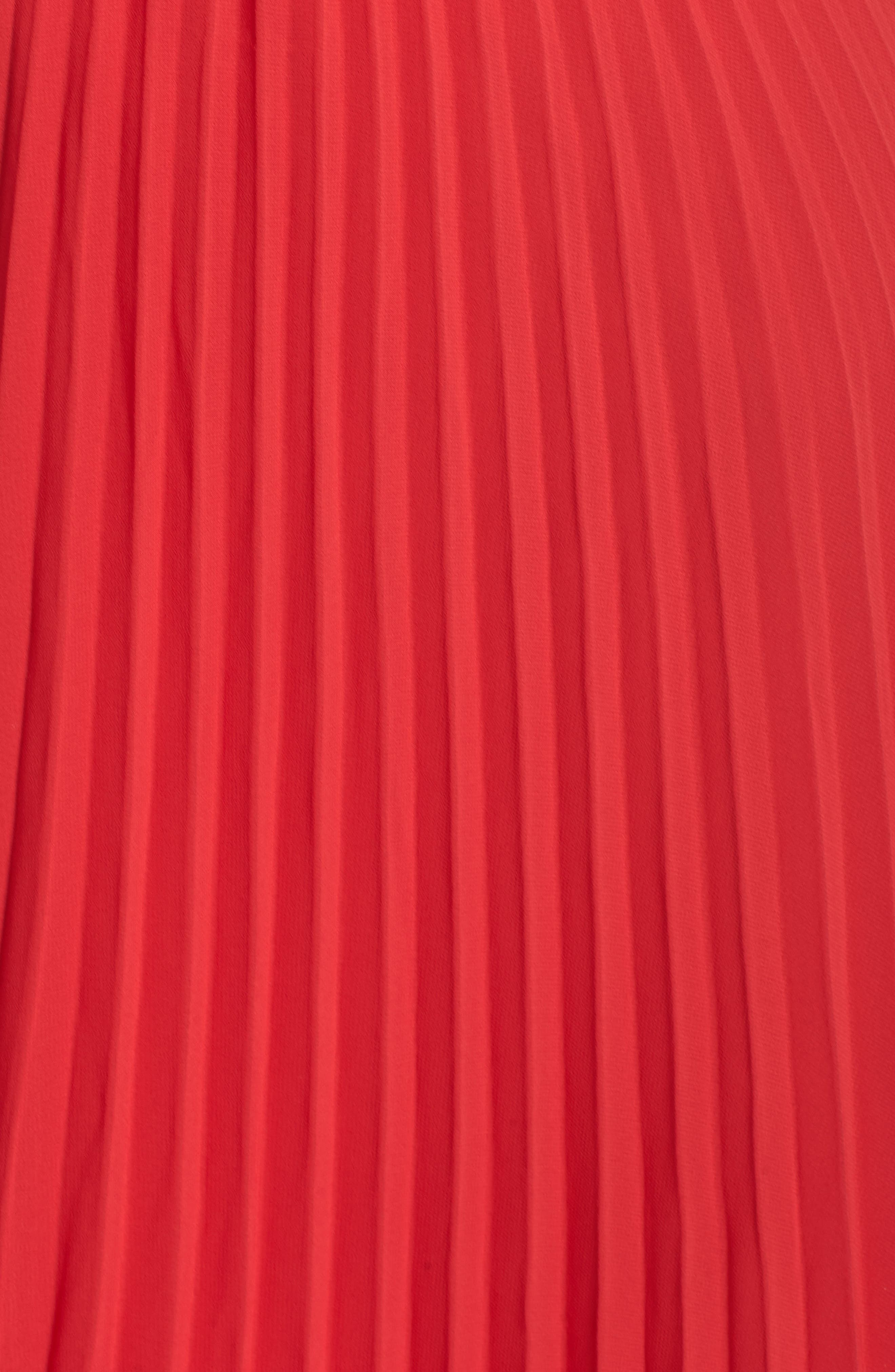 One-Shoulder Pleat Chiffon Gown,                             Alternate thumbnail 6, color,                             Red