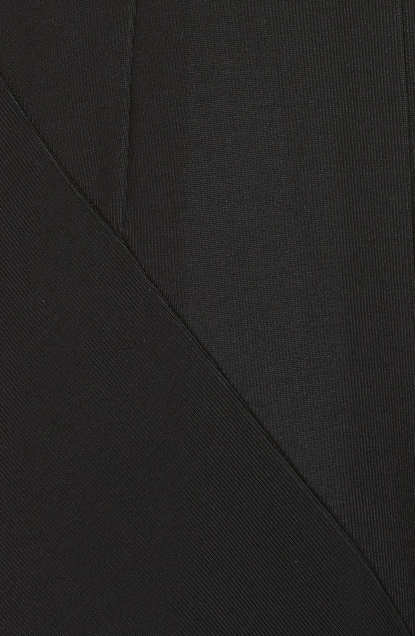 Colorblock Asymmetrical Gown,                             Alternate thumbnail 5, color,                             Black W/ White