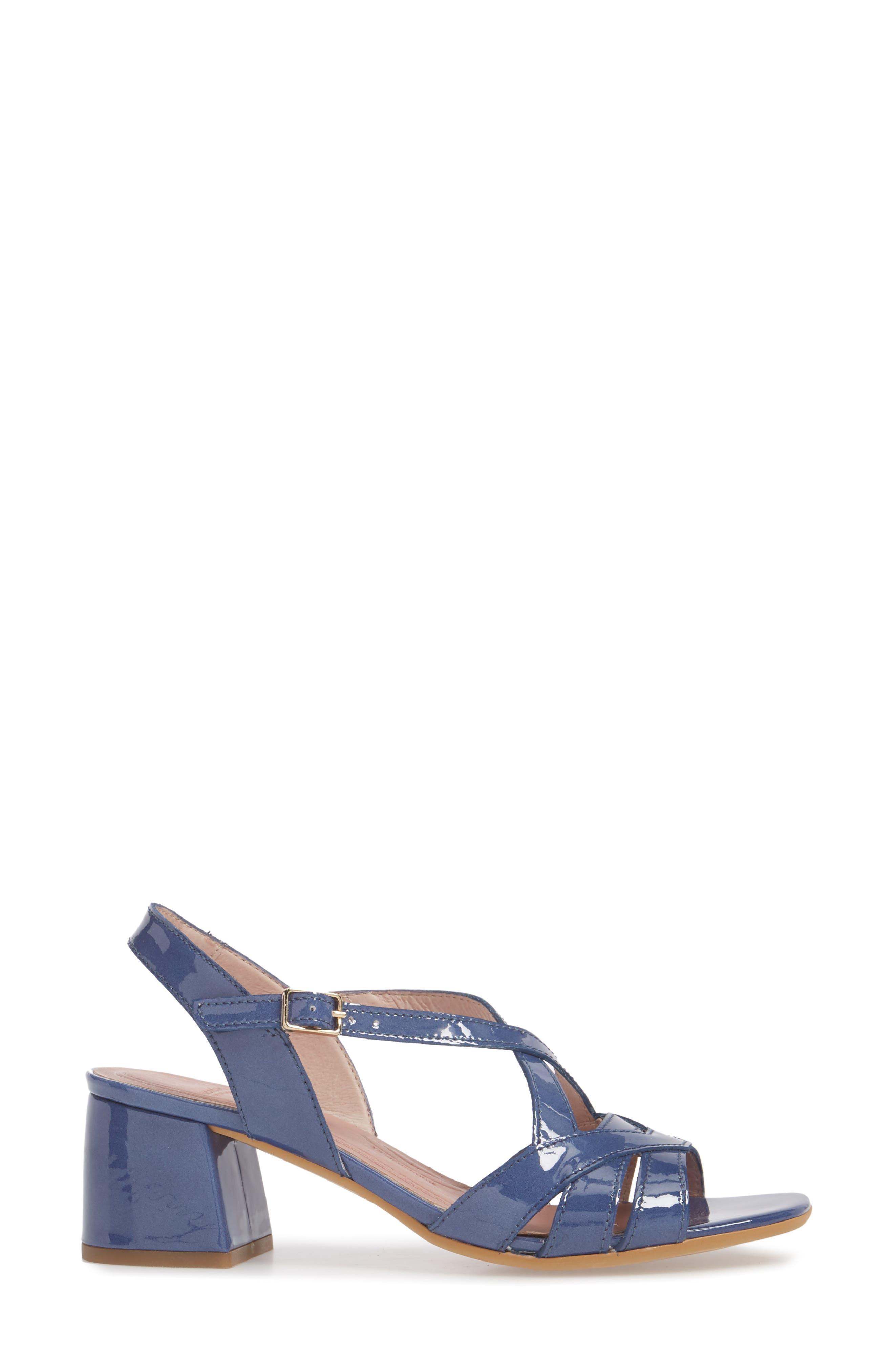 Block Heel Sandal,                             Alternate thumbnail 3, color,                             Jean Patent Leather