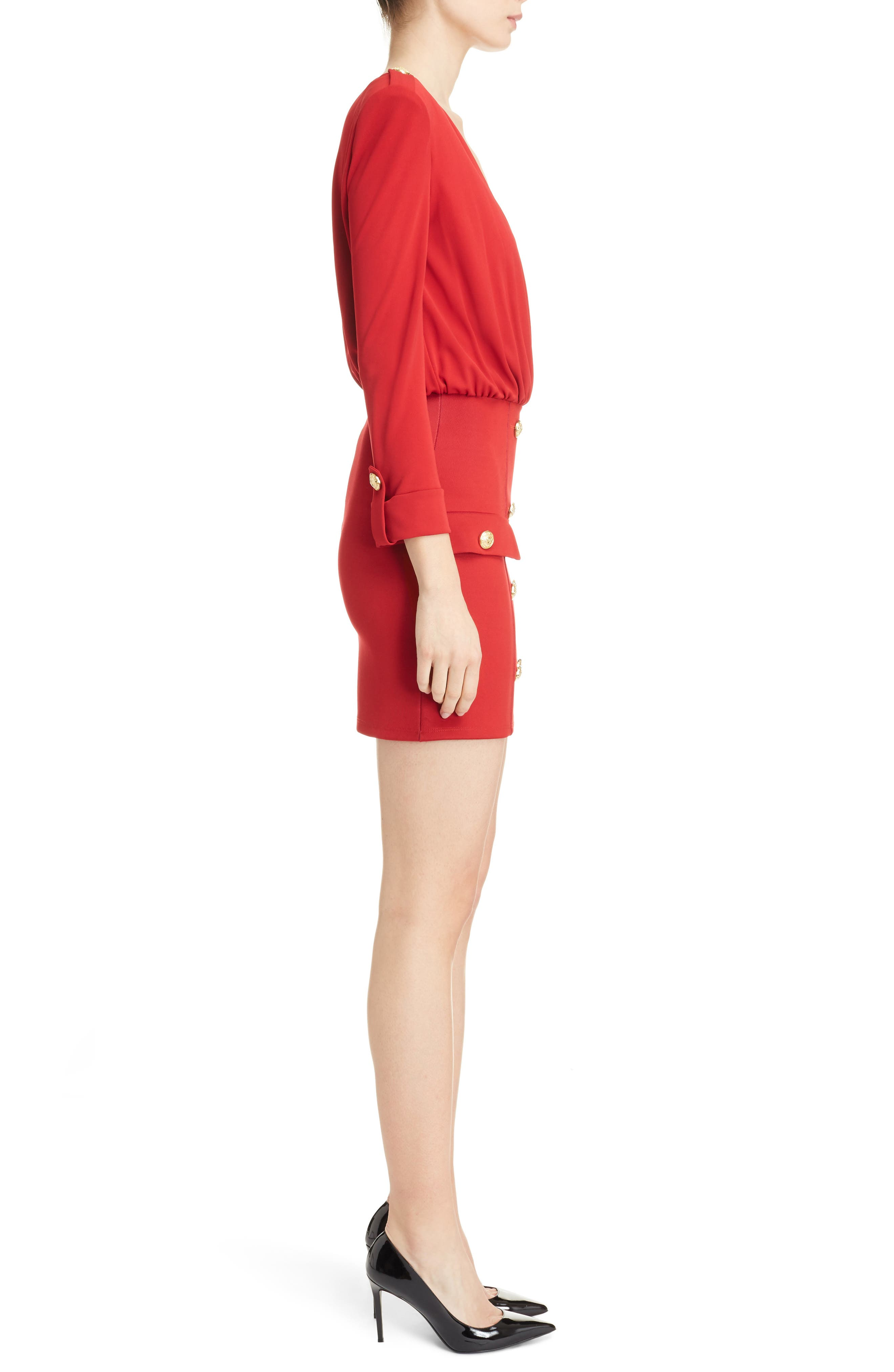Button Detail Dress,                             Alternate thumbnail 3, color,                             Red
