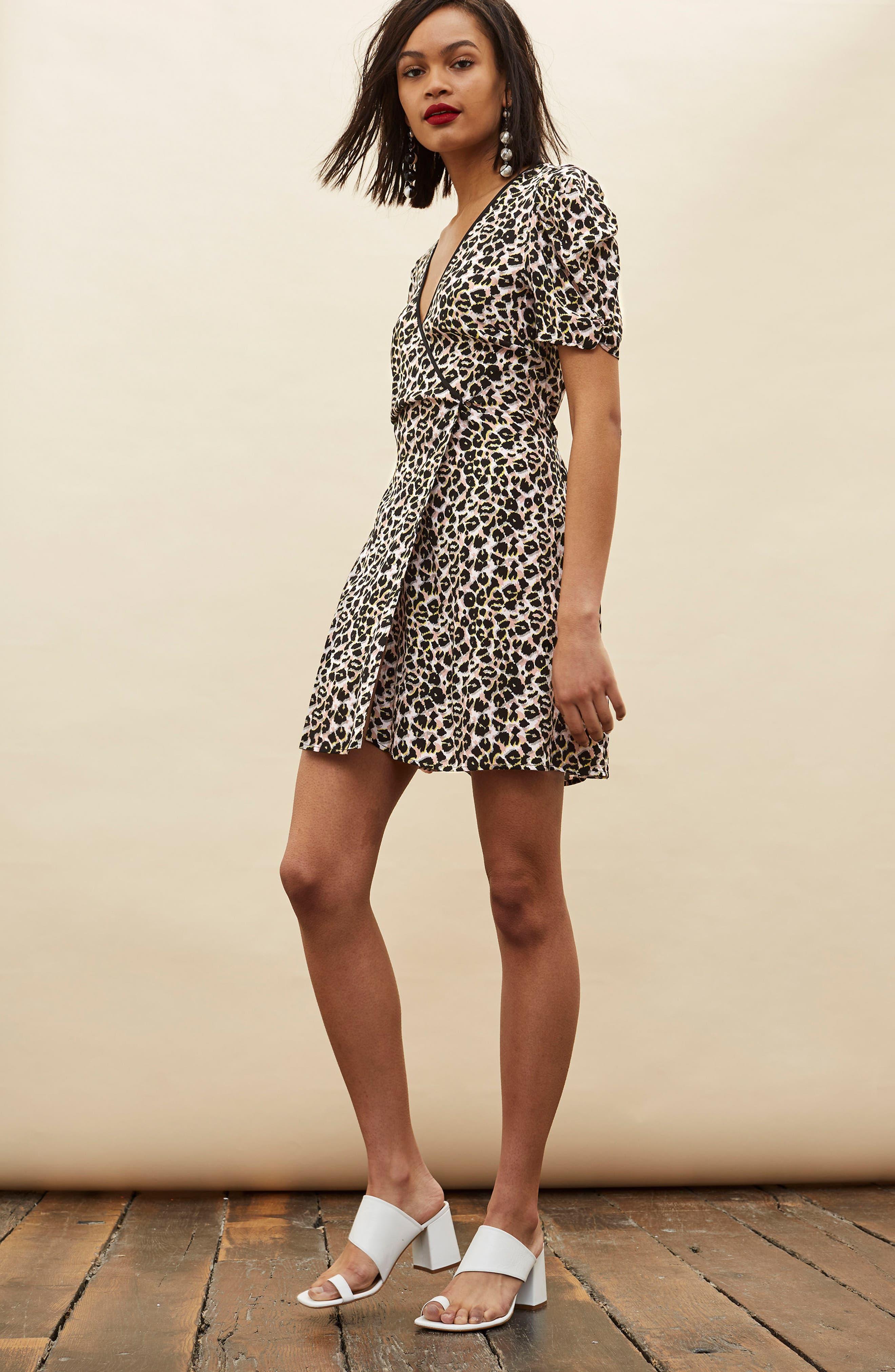 Leopard Wrap Minidress,                             Alternate thumbnail 2, color,                             Brown Multi