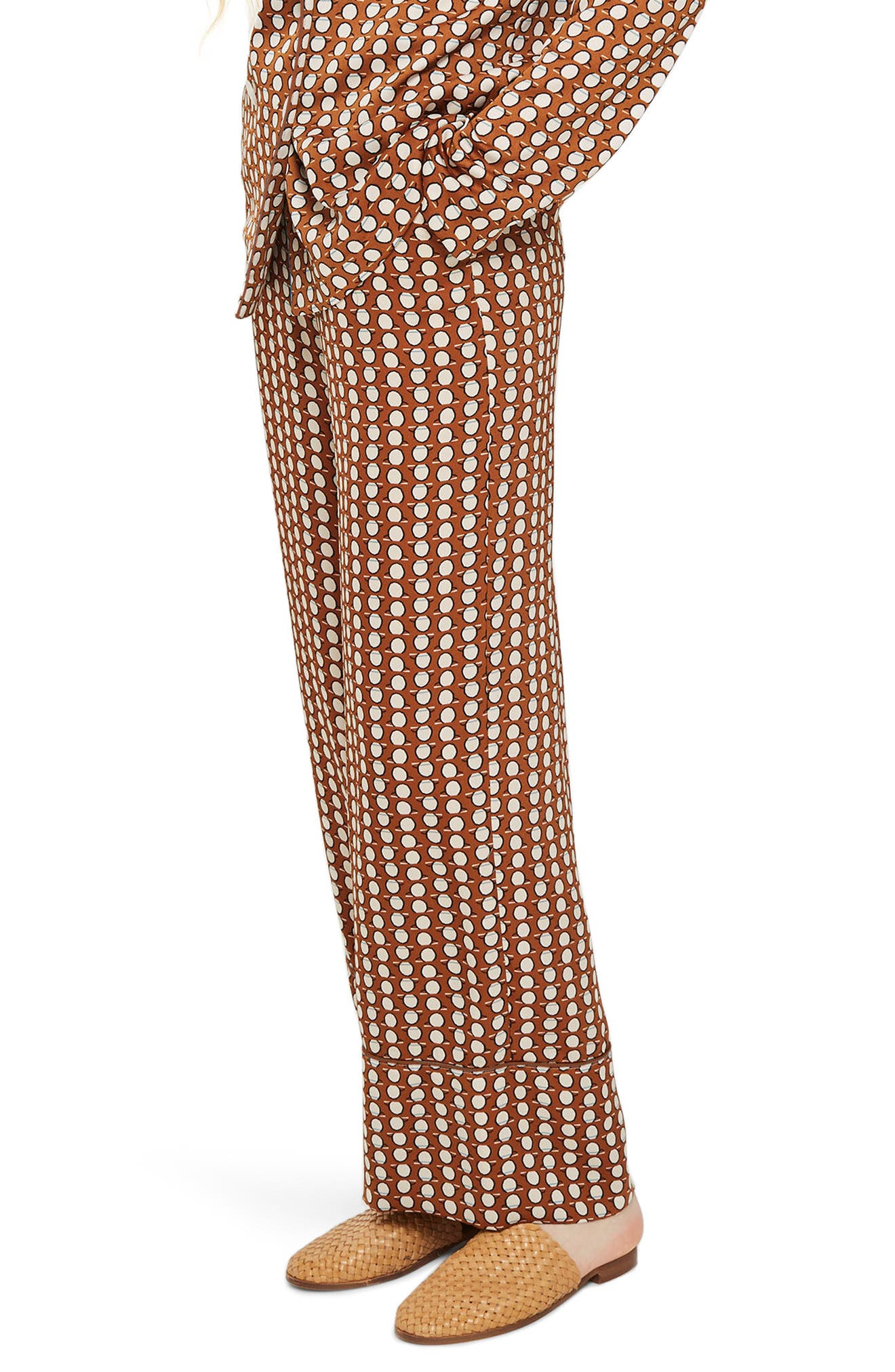 Geo Print Pajama Trousers,                         Main,                         color, Rust Multi