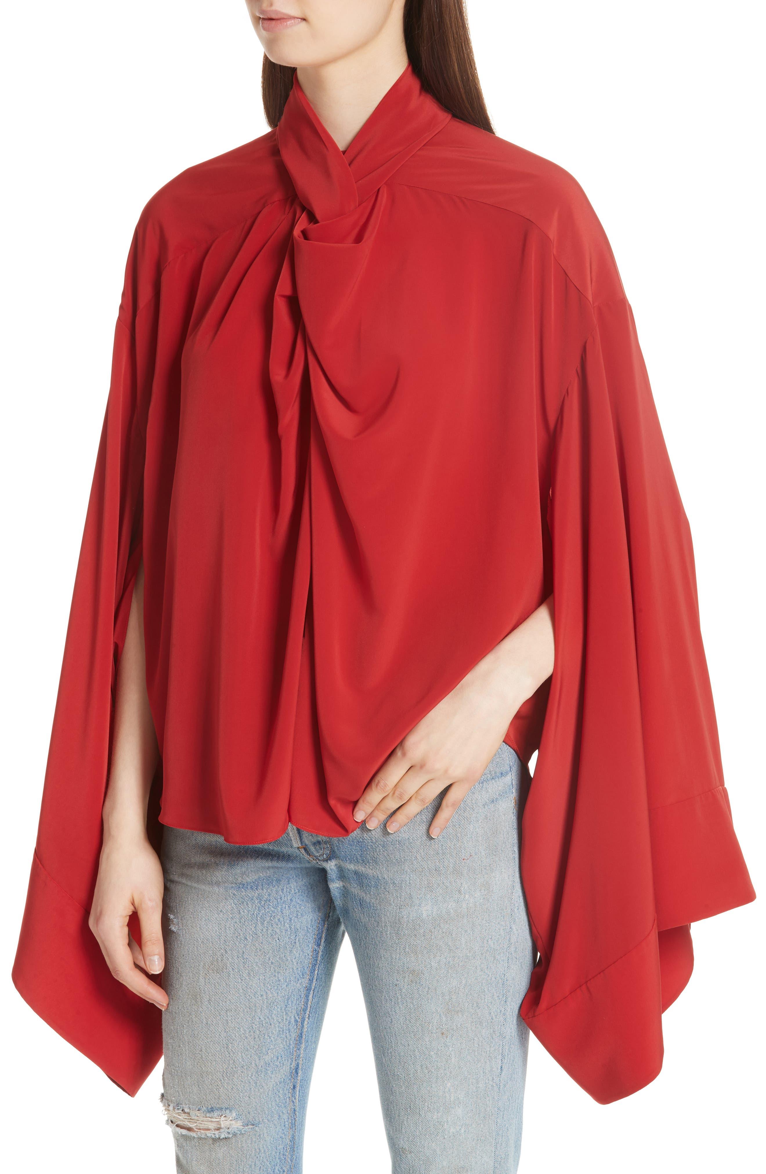 Kimono Sleeve Blouse,                             Alternate thumbnail 4, color,                             Red