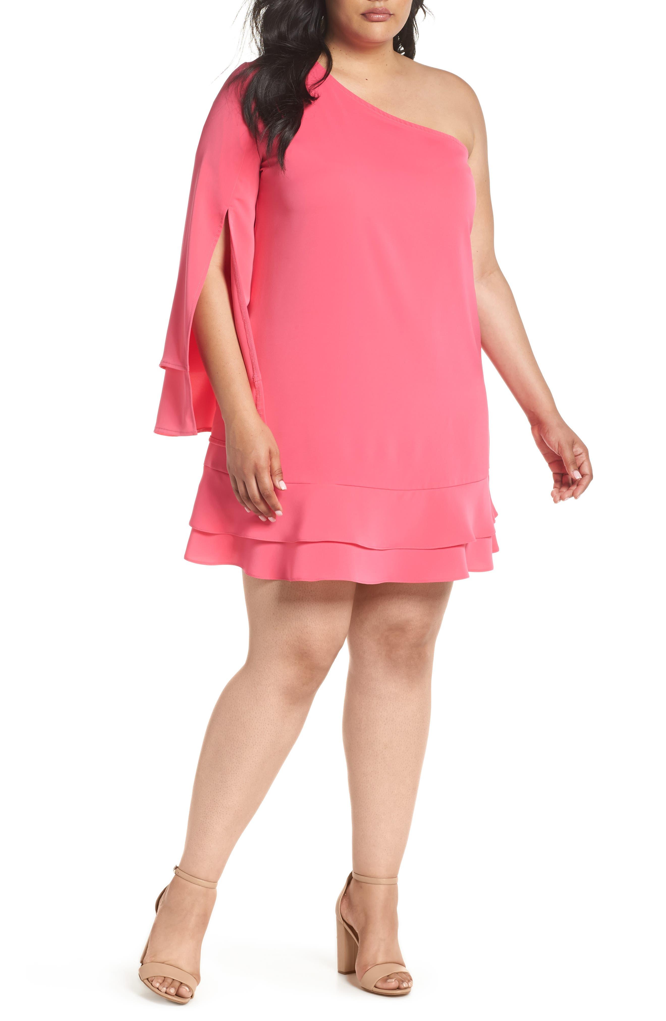 ELVI The Pyranine One-Shoulder Swing Dress (Plus Size)