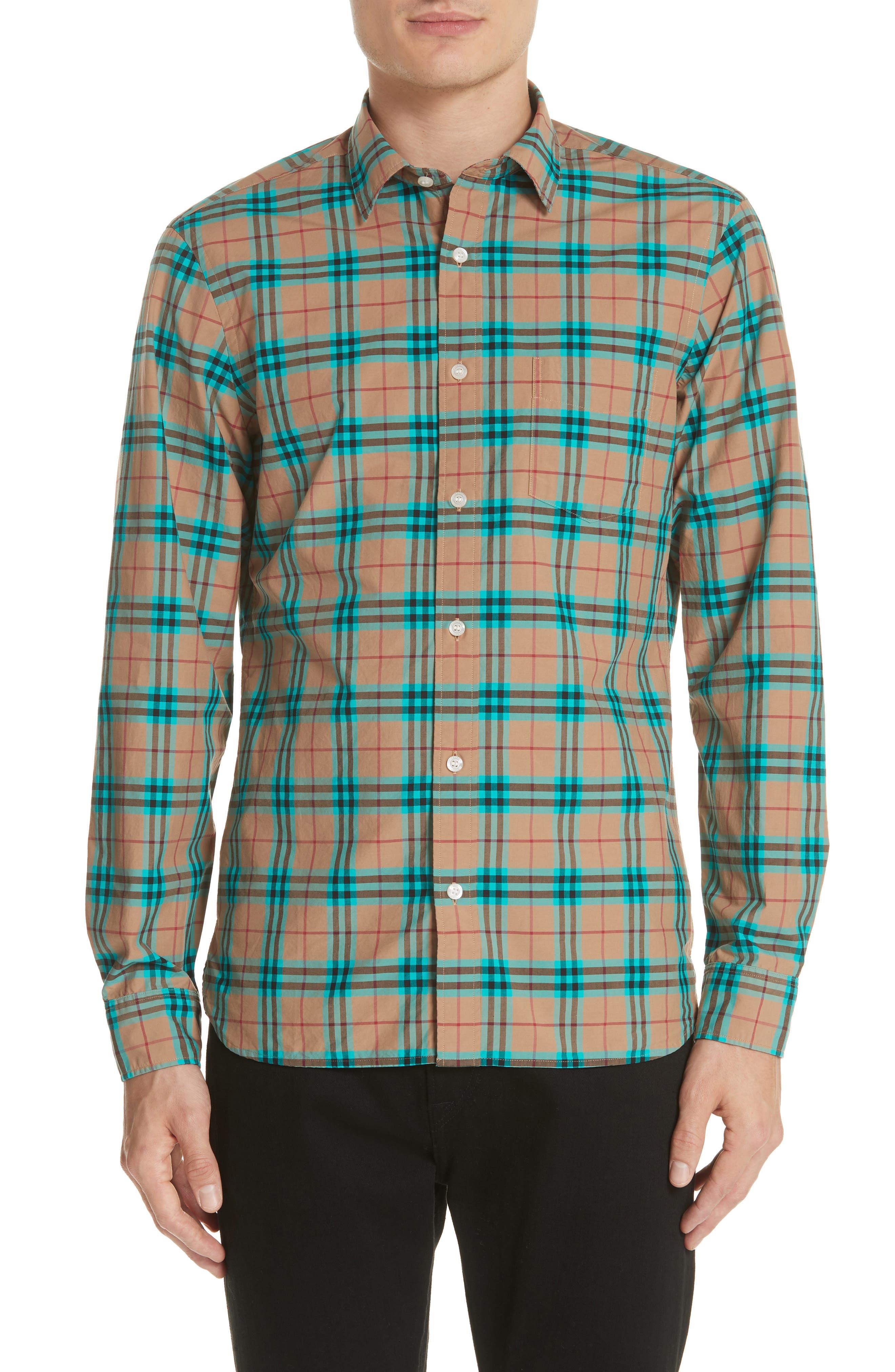 Alexander Check Sport Shirt,                         Main,                         color, Aqua Green