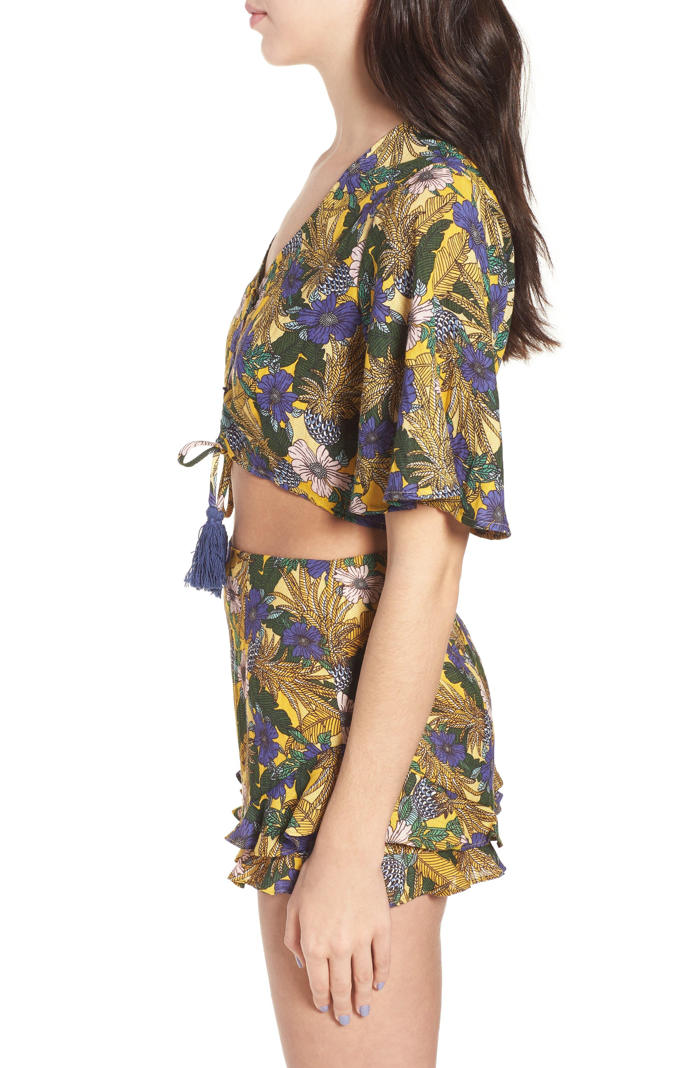 Isla Floral Print Crop Top,                             Alternate thumbnail 4, color,                             Yellow Multi