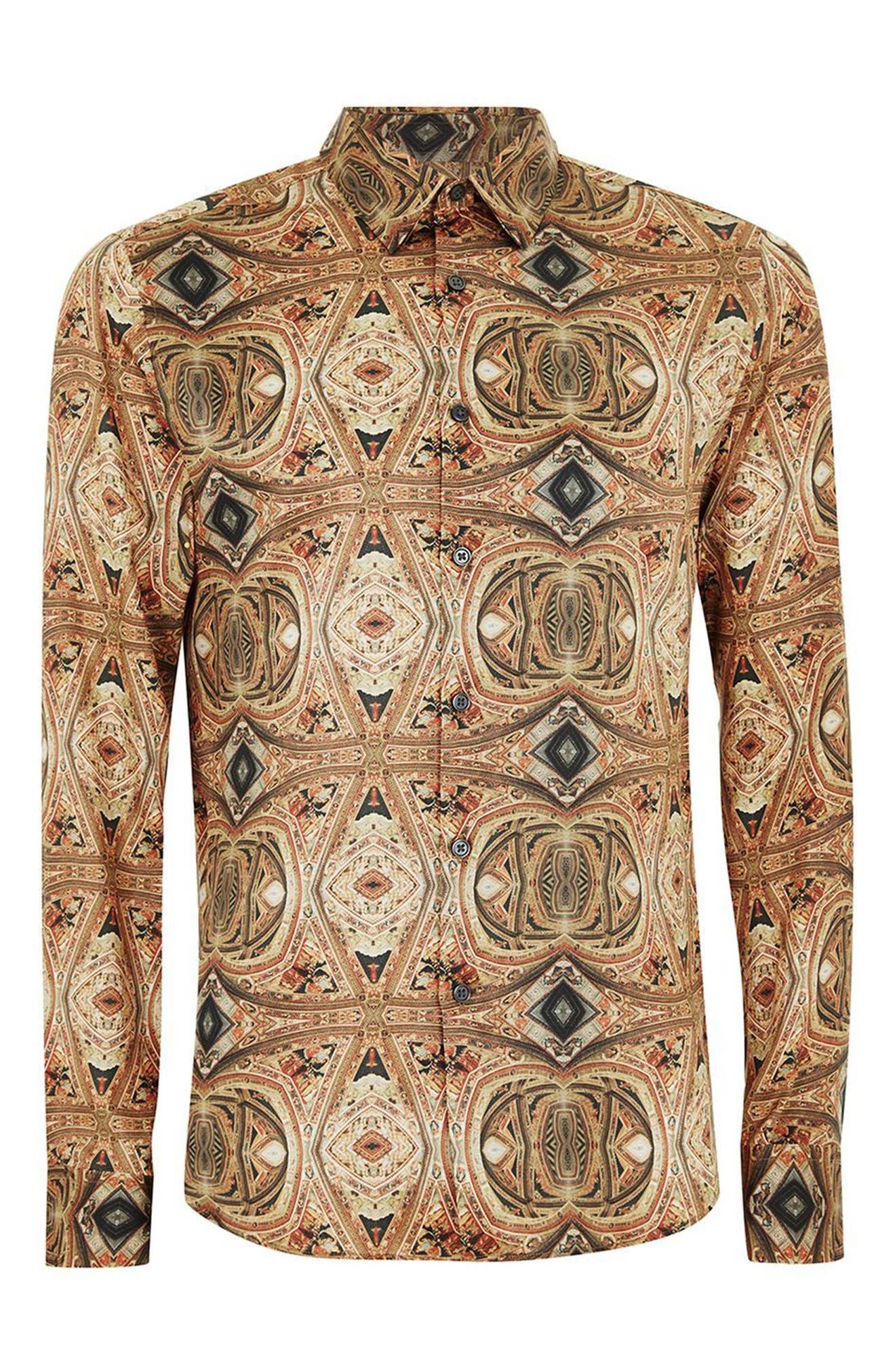 Print Shirt,                             Alternate thumbnail 4, color,                             Brown Multi