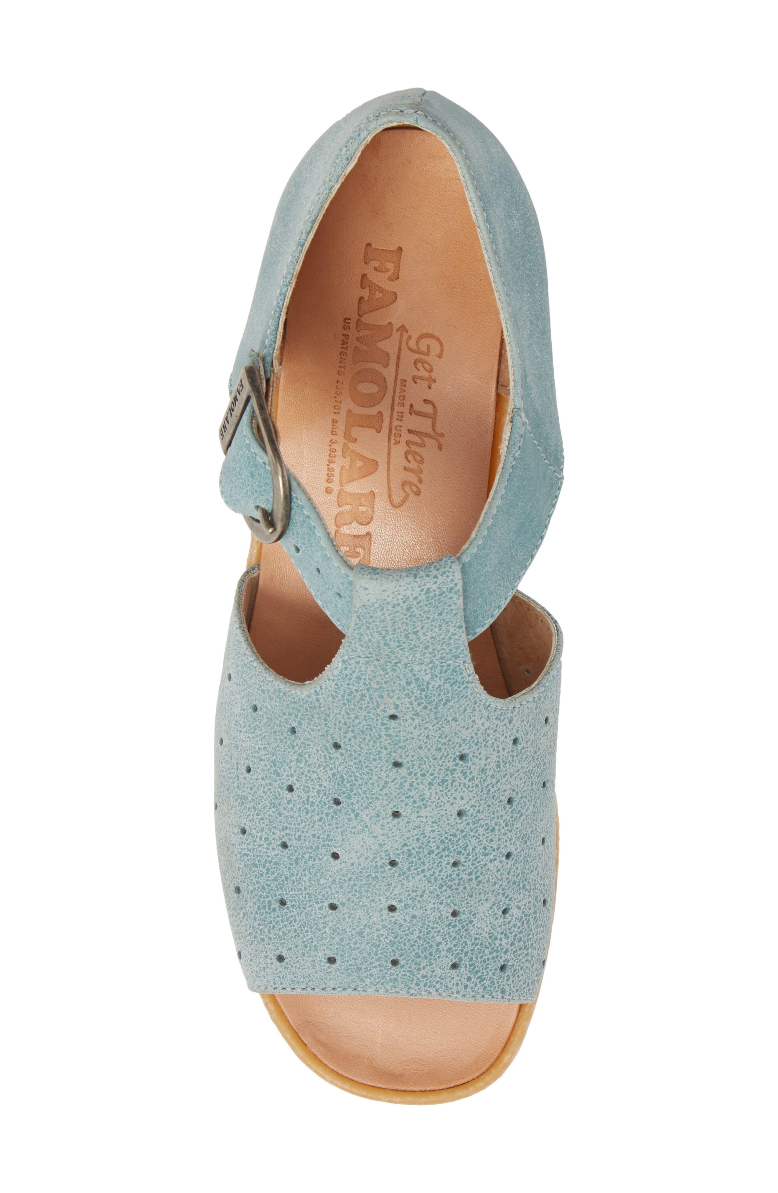 Holey Moley Wedge Sandal,                             Alternate thumbnail 5, color,                             Aqua Mix Leather