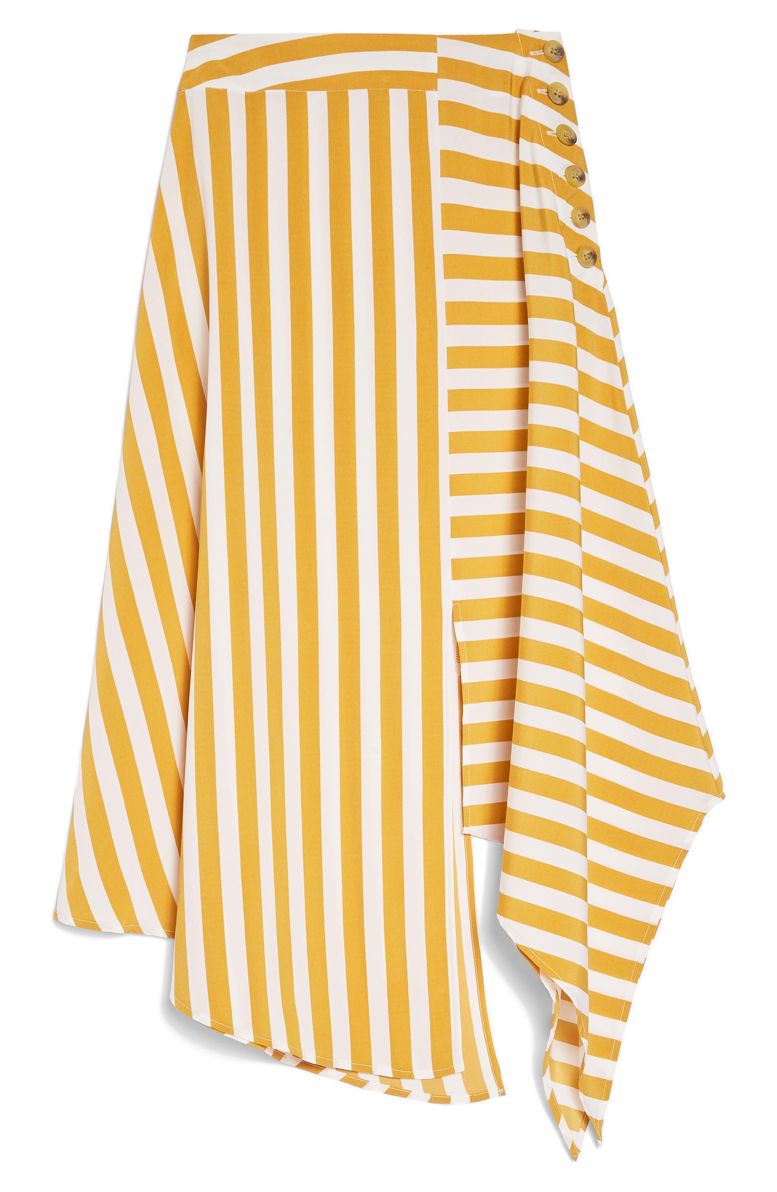 Humbug Button Handkerchief Hem Midi Skirt,                             Alternate thumbnail 4, color,                             Mustard Multi