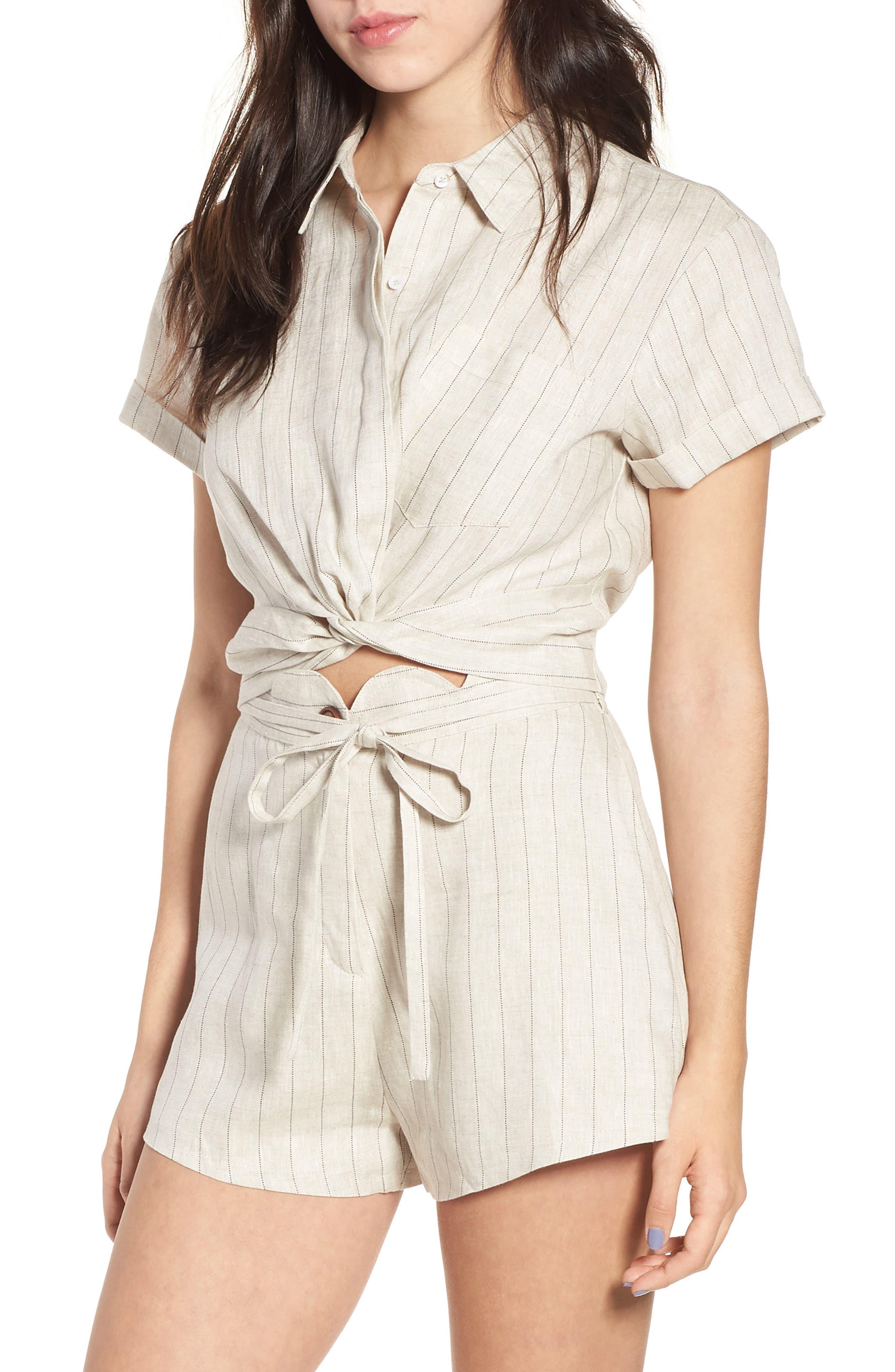 Linen Twist Hem Crop Top,                         Main,                         color, Beige Stripe