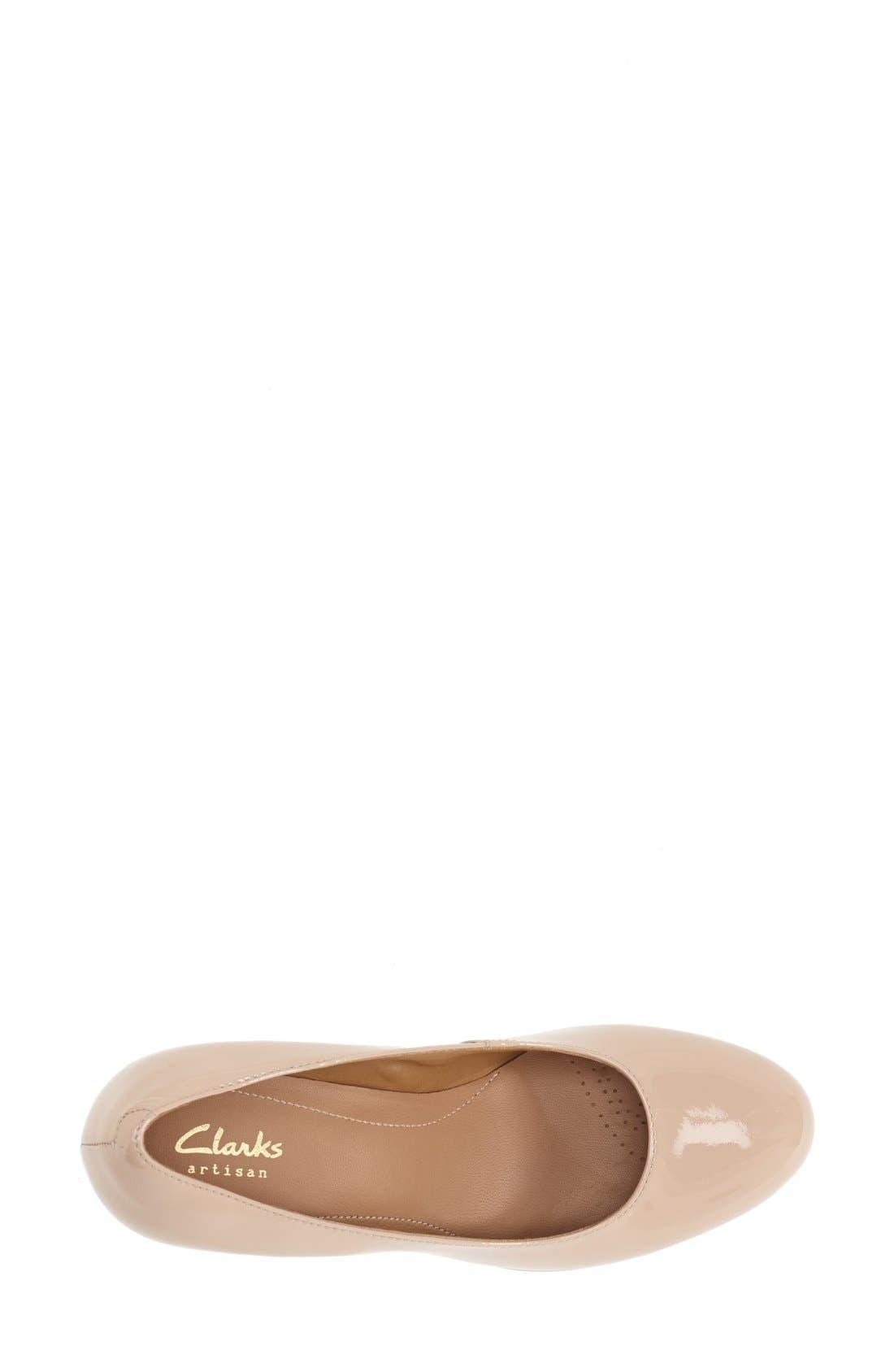 'Delsie Bliss' Platform Pump,                             Alternate thumbnail 3, color,                             Nude Patent Leather