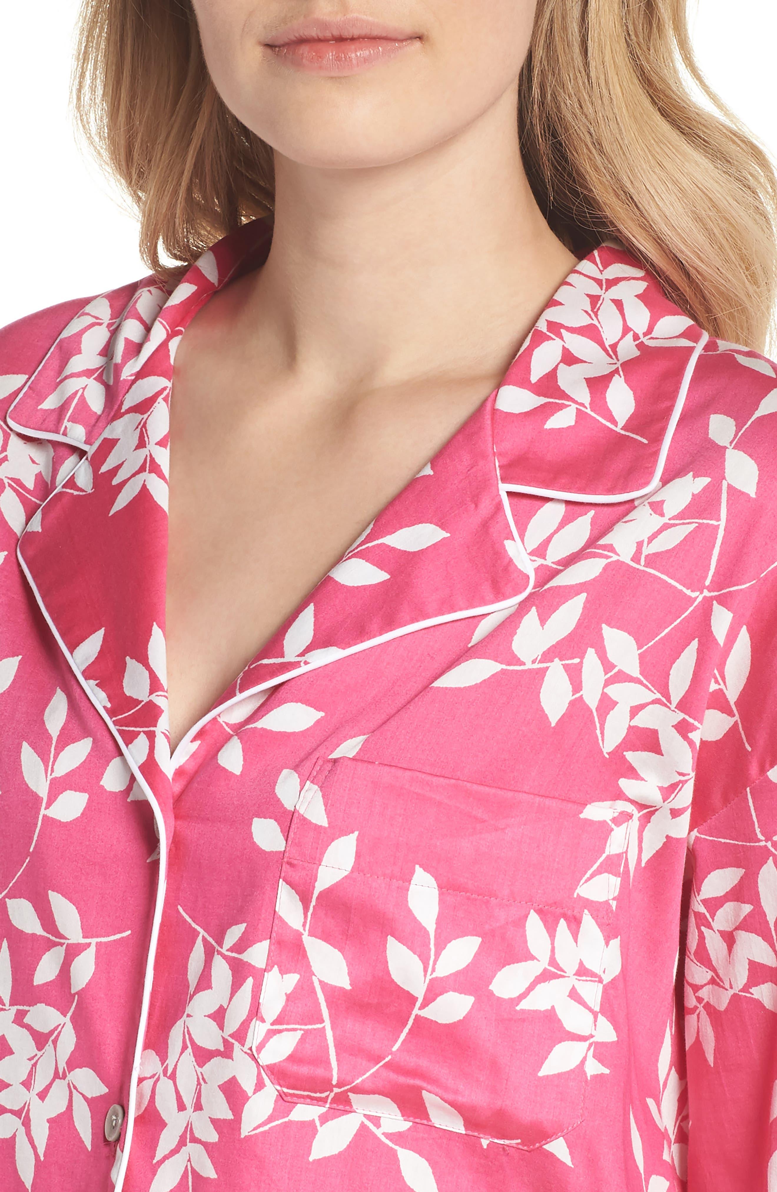 Branch Print Cotton Sateen Short Pajamas,                             Alternate thumbnail 5, color,                             Hibiscus Pink