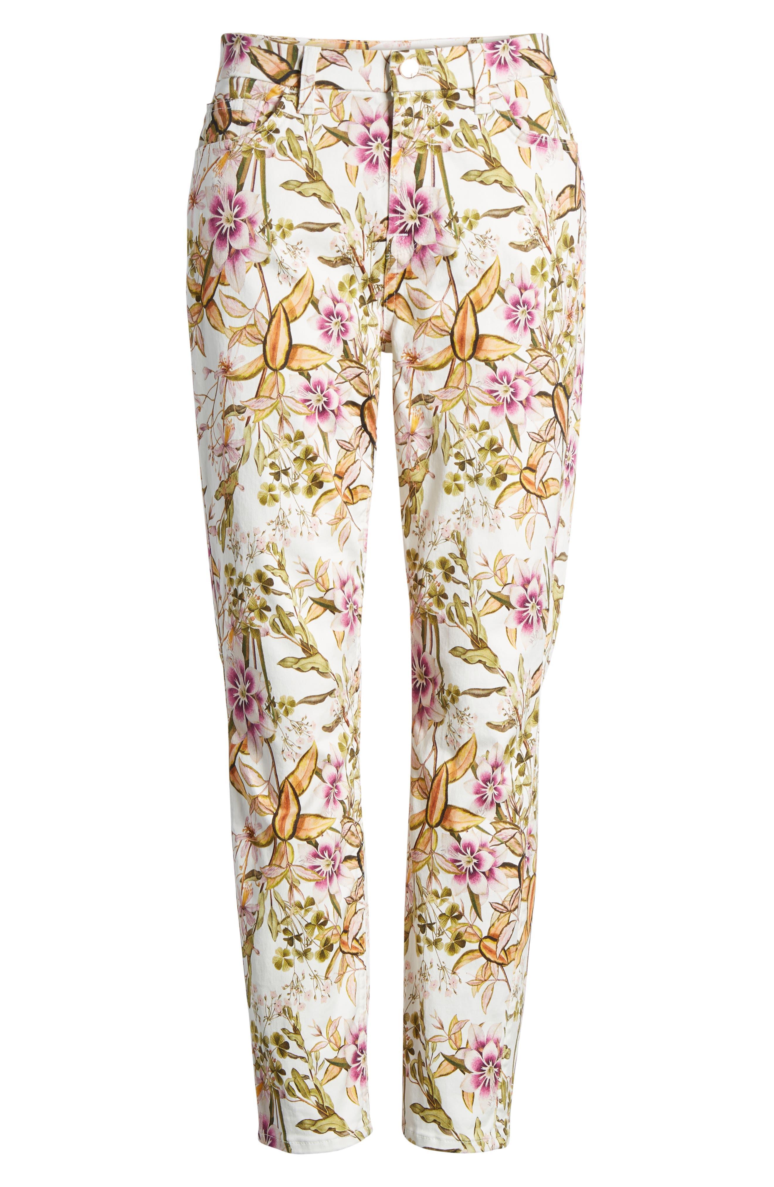 Floral Print Ankle Skinny Jeans,                             Alternate thumbnail 6, color,                             Havana Tropics