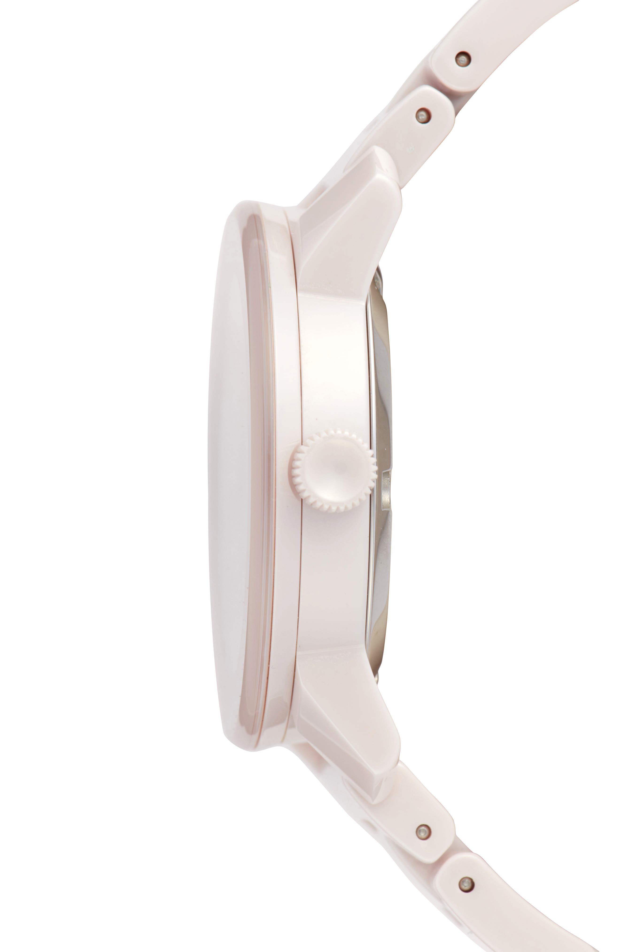 Bold Ceramic Bracelet Watch, 36mm,                             Alternate thumbnail 5, color,                             Blush Pink