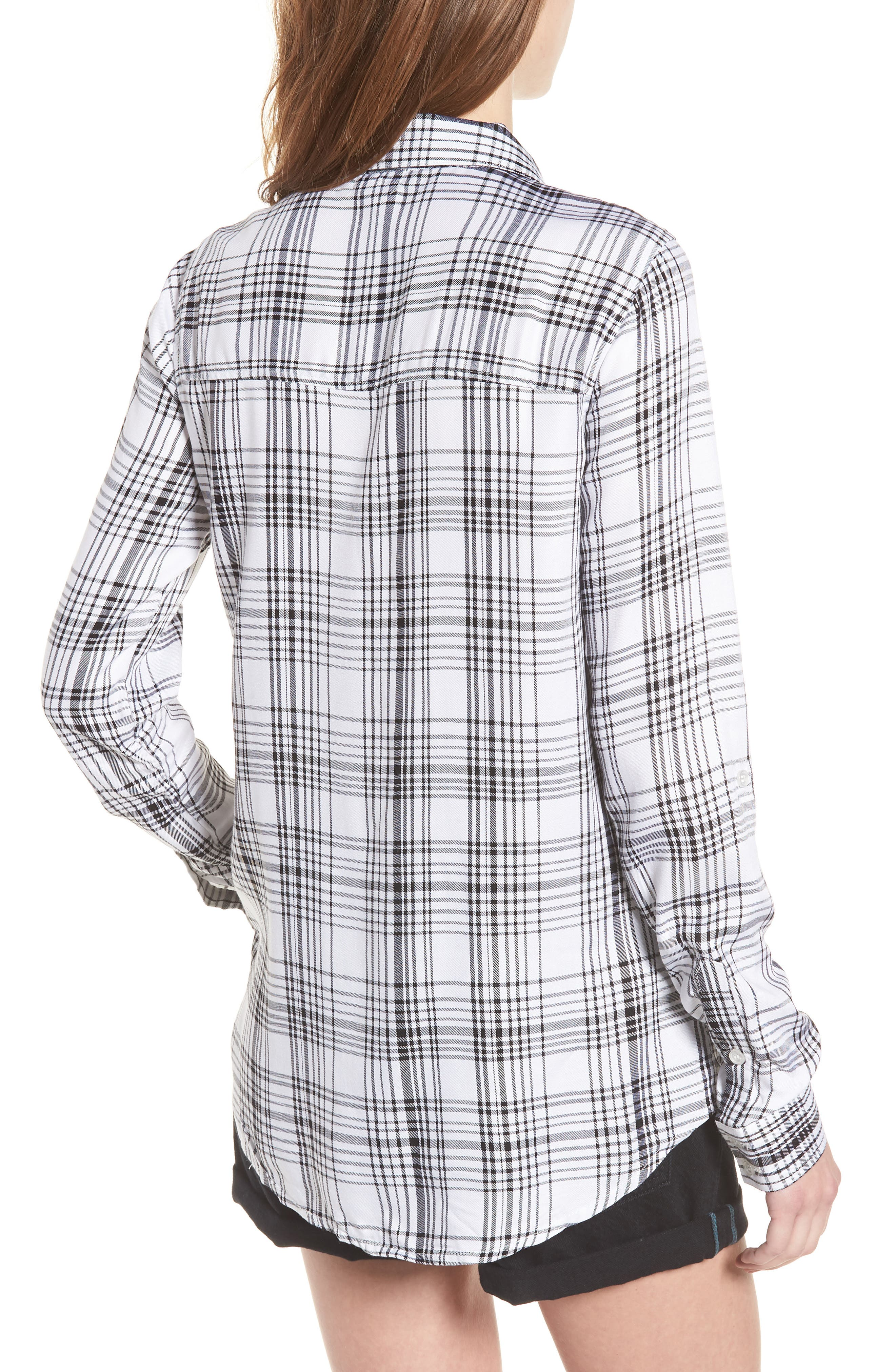 Roll-Tab Shirt,                             Alternate thumbnail 2, color,                             Black White Plaid