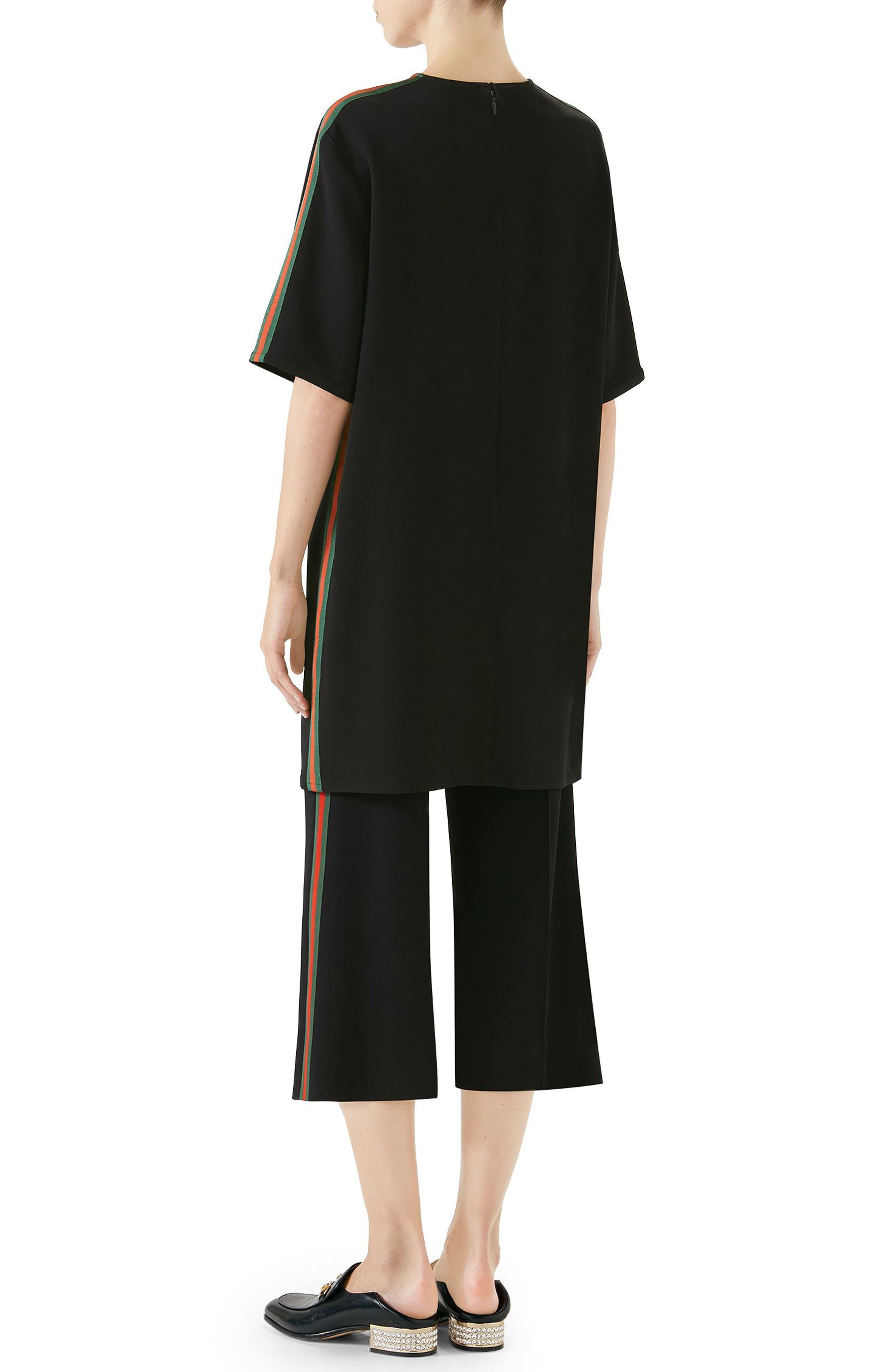Side Stripe Cady Tunic Dress,                             Alternate thumbnail 2, color,                             Black