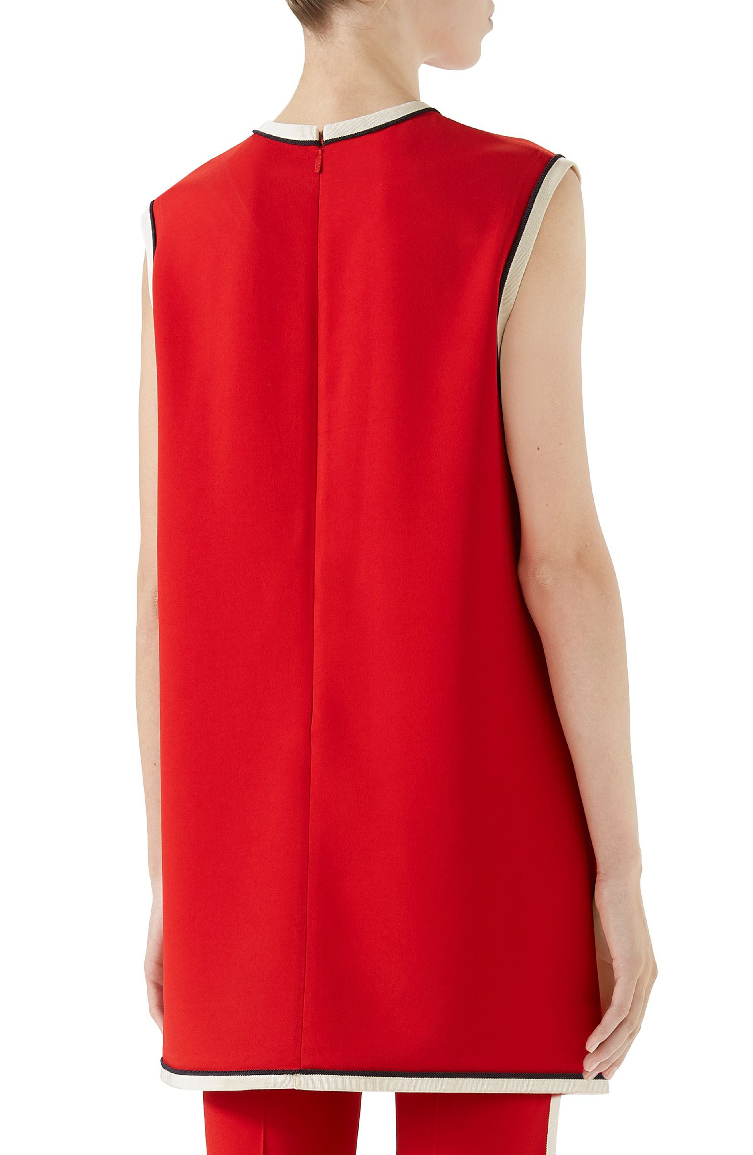 Stretch Cady Tunic Top,                             Alternate thumbnail 2, color,                             Red
