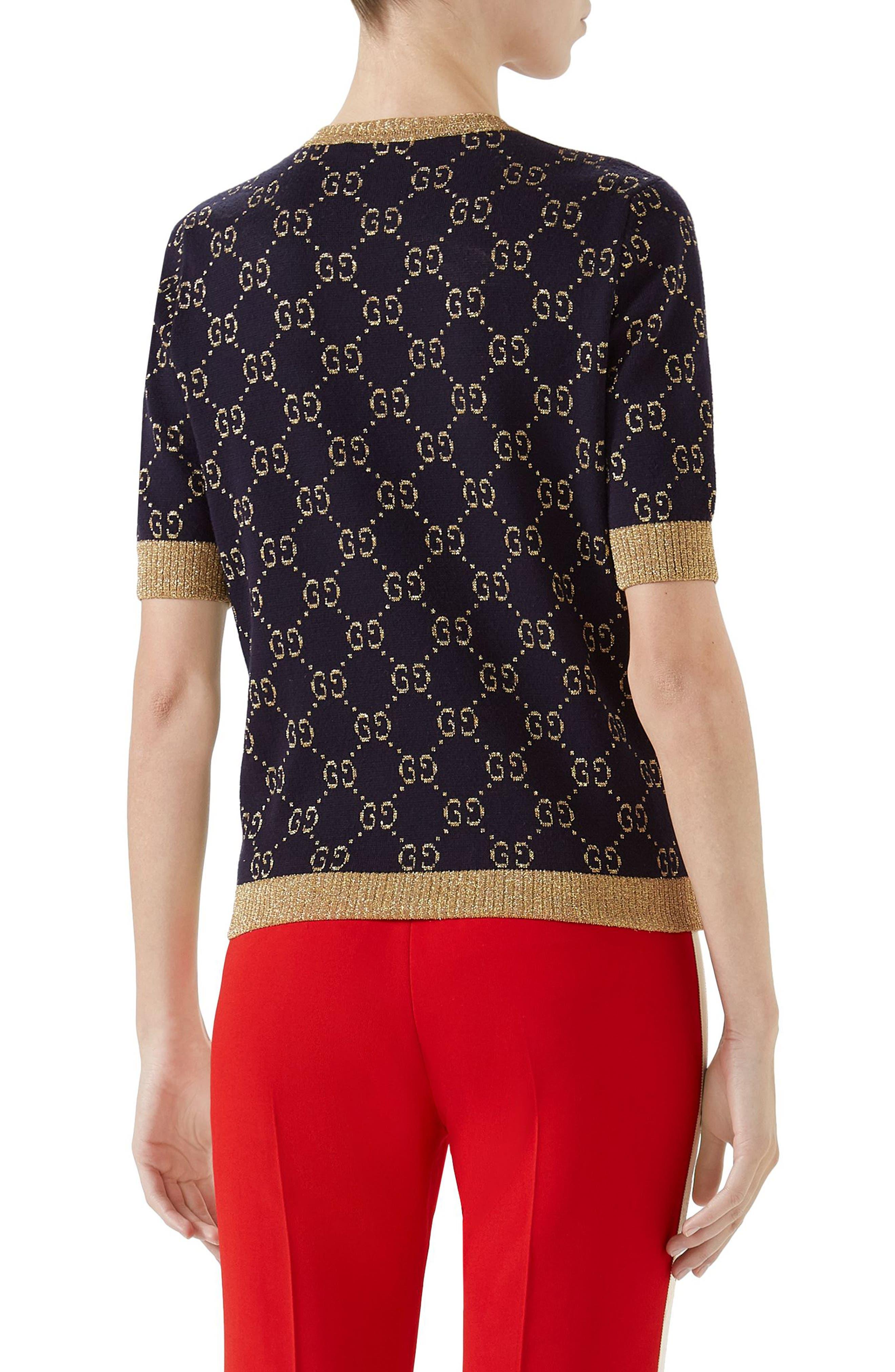 Metallic GG Sweater,                             Alternate thumbnail 2, color,                             Blue/ Gold