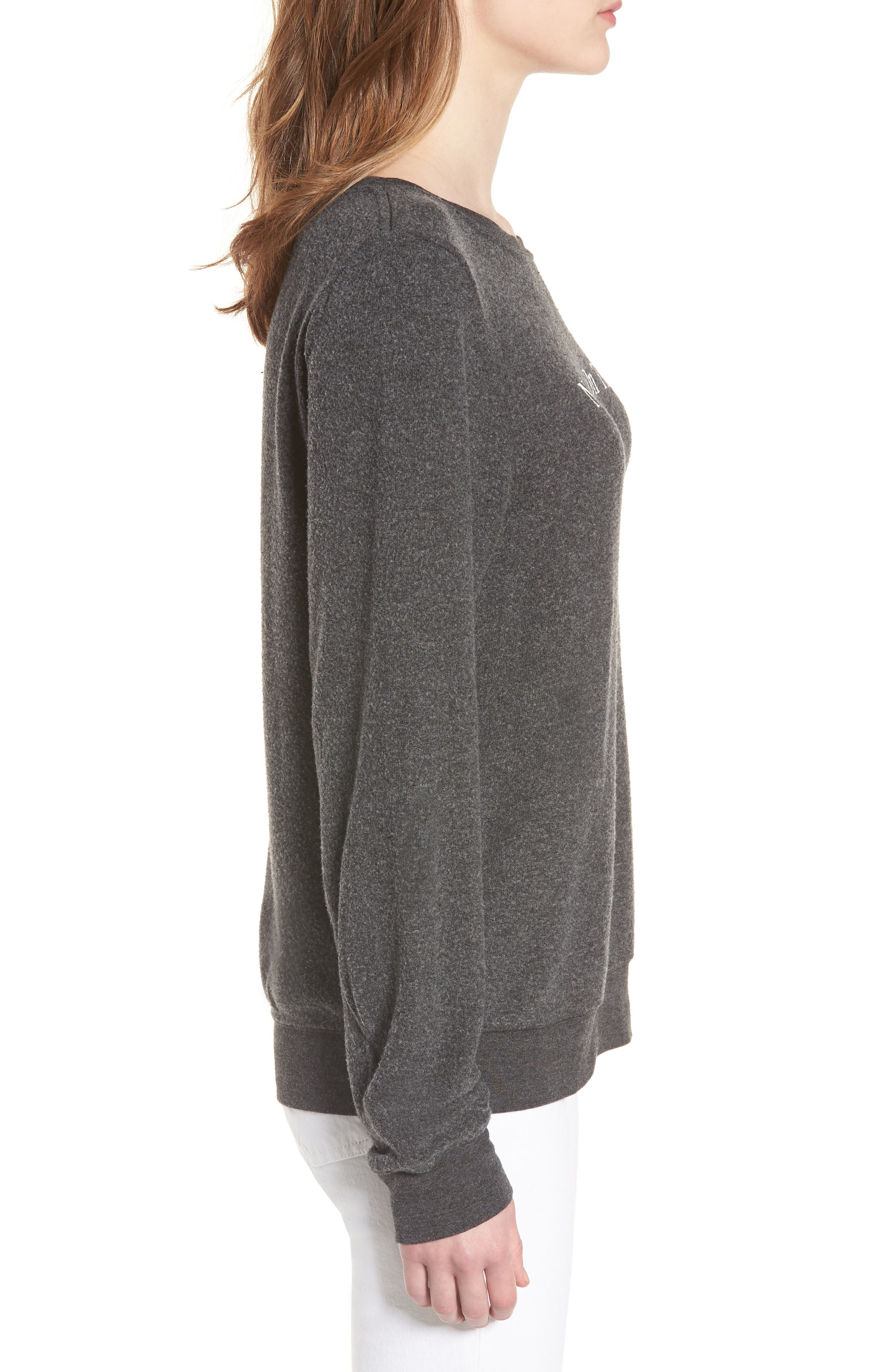 Never on Time Baggy Beach Jumper Pullover,                             Alternate thumbnail 3, color,                             Black