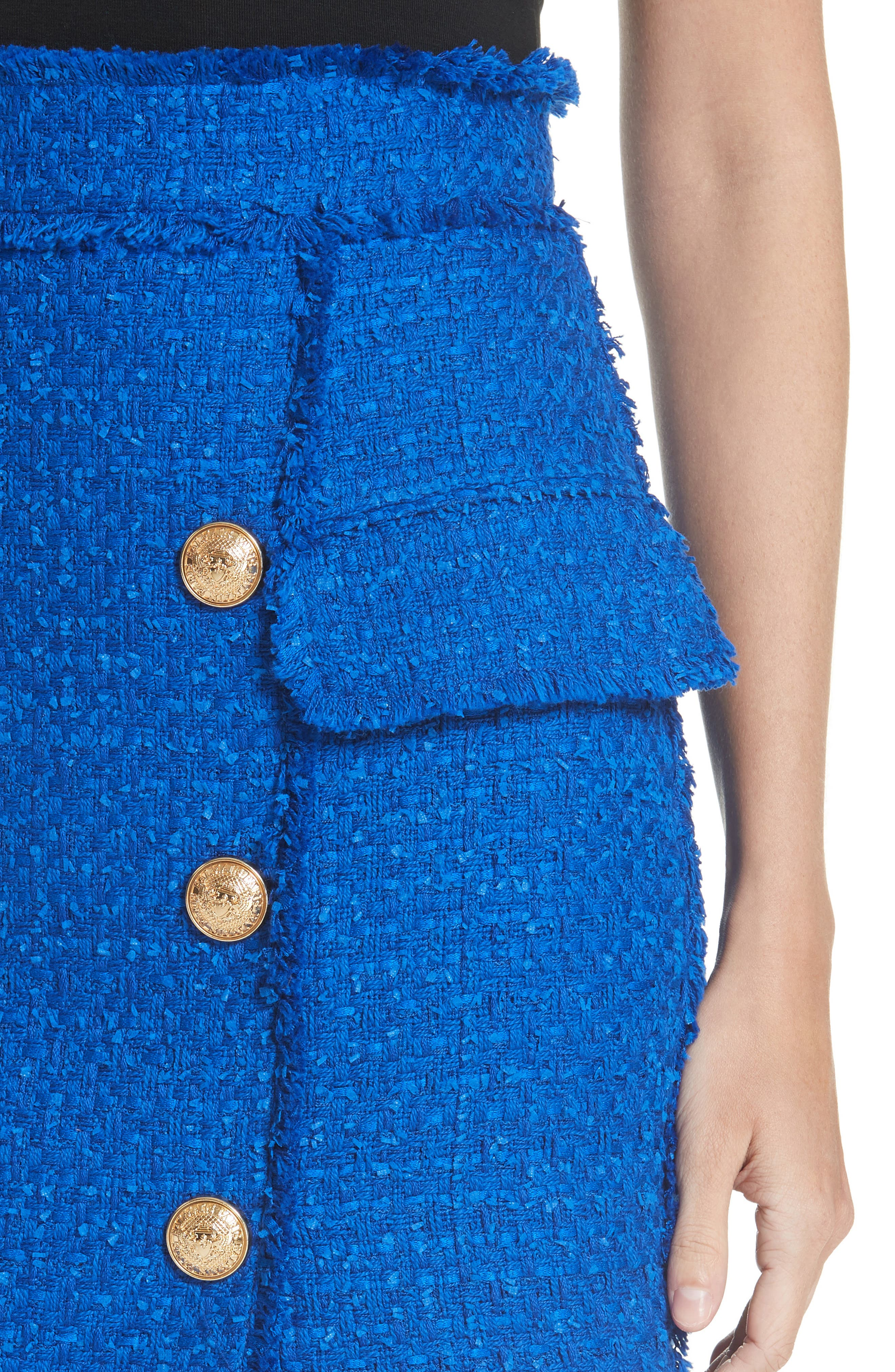 Button Detail Tweed Miniskirt,                             Alternate thumbnail 4, color,                             Electric Blue