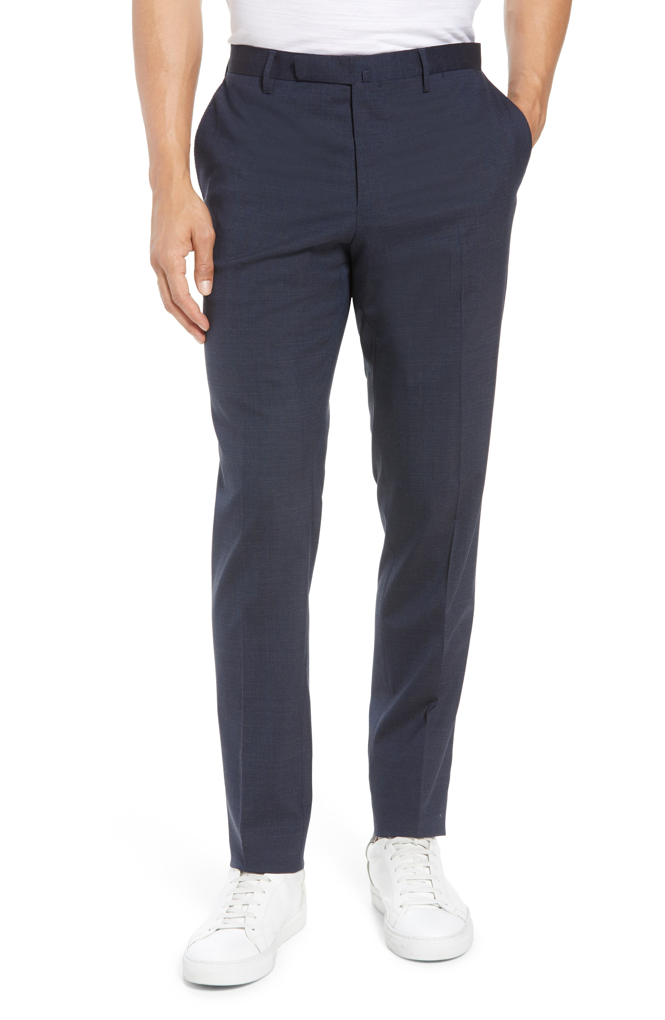 Trim Fit Stretch Solid Wool Suit,                             Alternate thumbnail 6, color,                             Navy