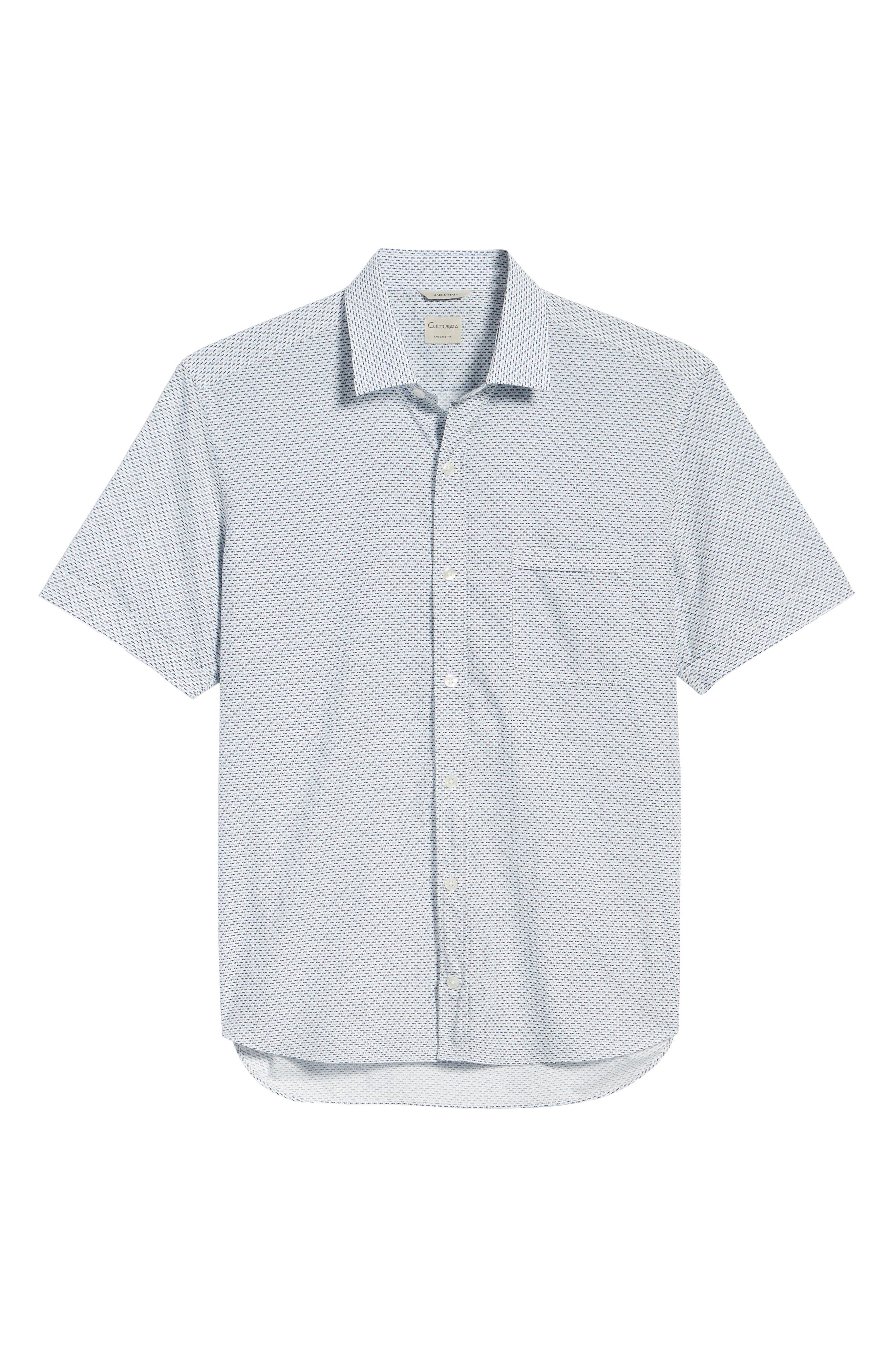 Trim Fit Fish Print Sport Shirt,                             Alternate thumbnail 6, color,                             White