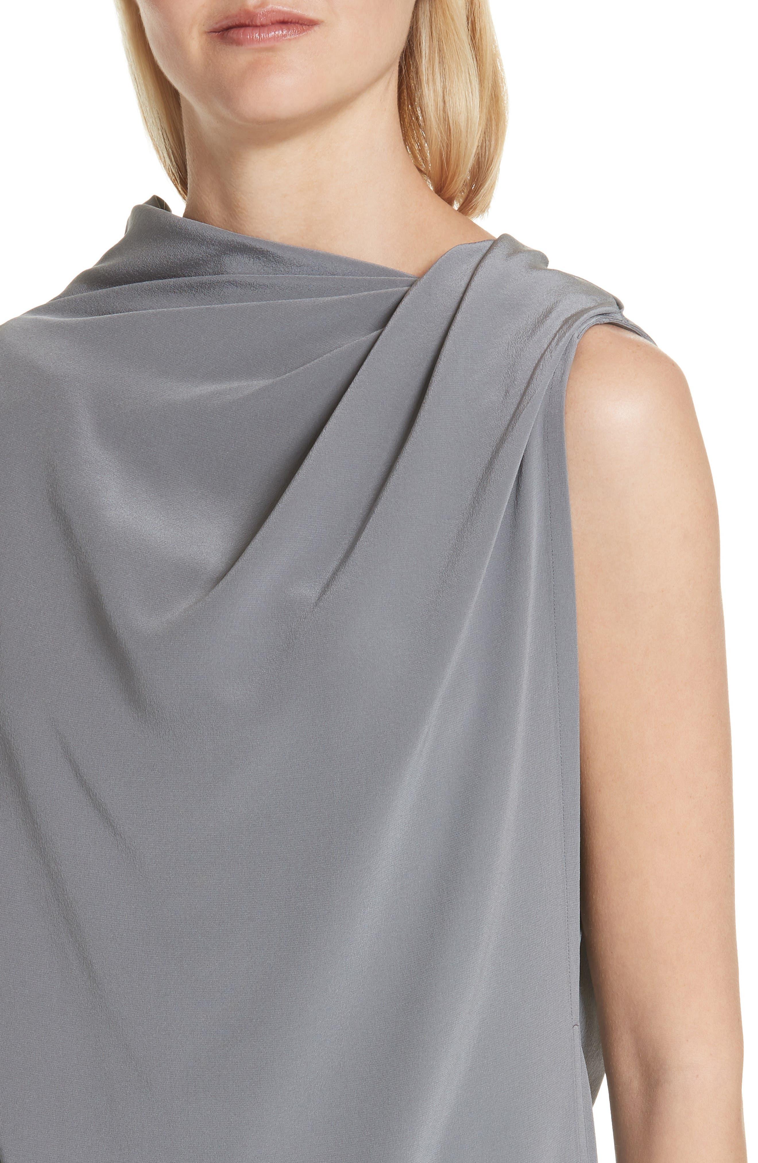 Draped Silk Tank Top,                             Alternate thumbnail 4, color,                             Grey