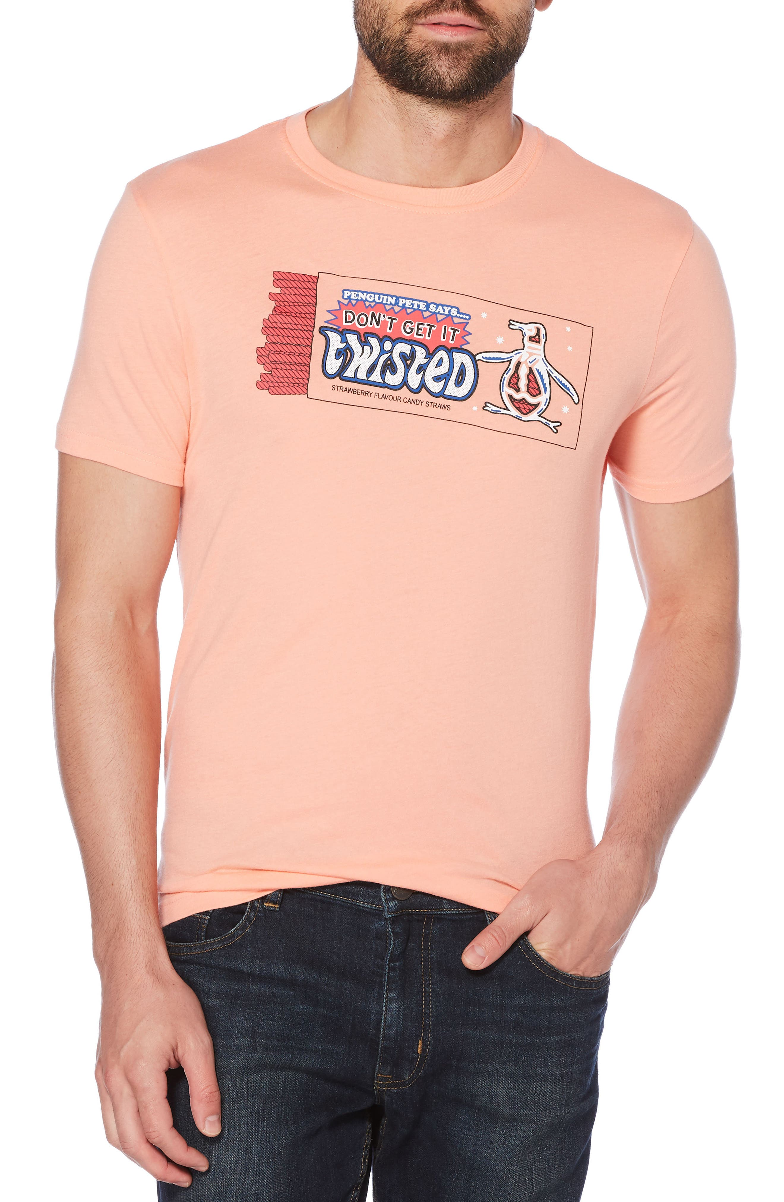 Don't Get It Twisted T-Shirt,                             Main thumbnail 1, color,                             Peach Amber