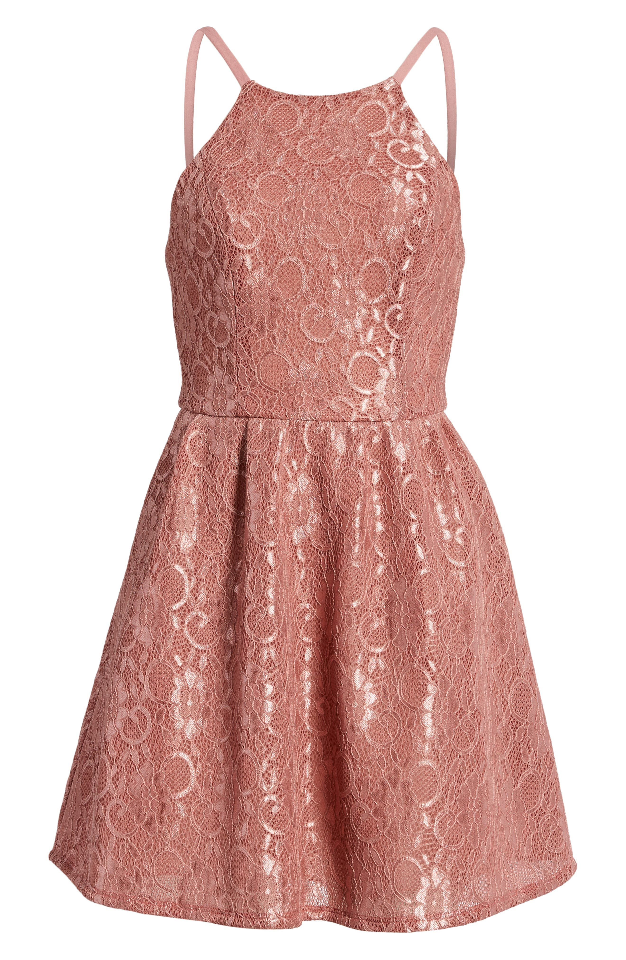 Lace Halter Low Back Party Dress,                             Alternate thumbnail 7, color,                             New Mauve
