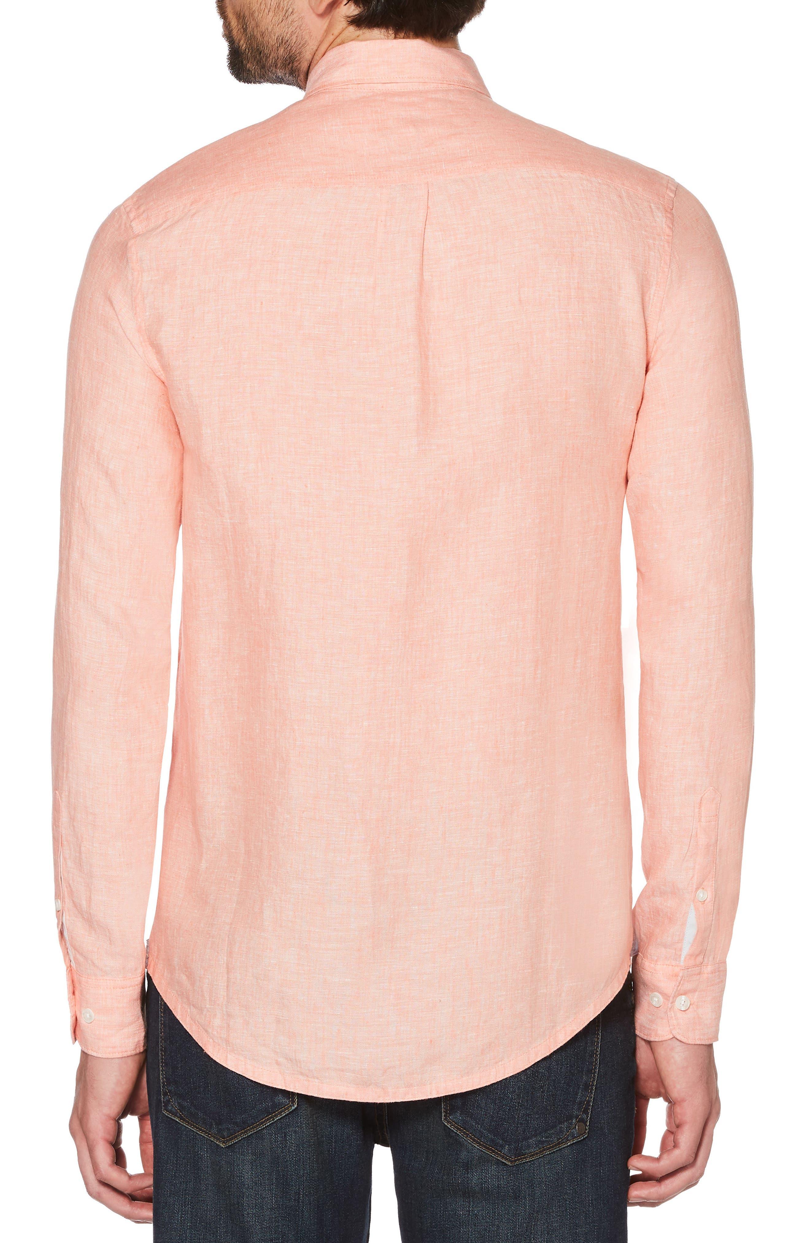 Nep Woven Shirt,                             Alternate thumbnail 2, color,                             Peach Amber