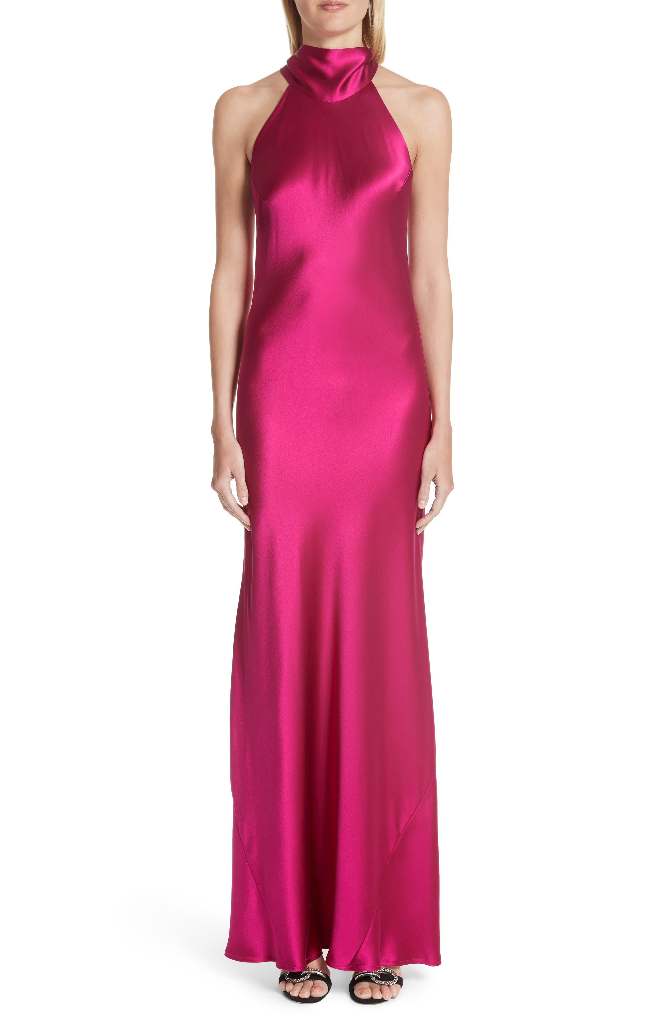 Silk Mock Neck Gown,                             Main thumbnail 1, color,                             Raspberry