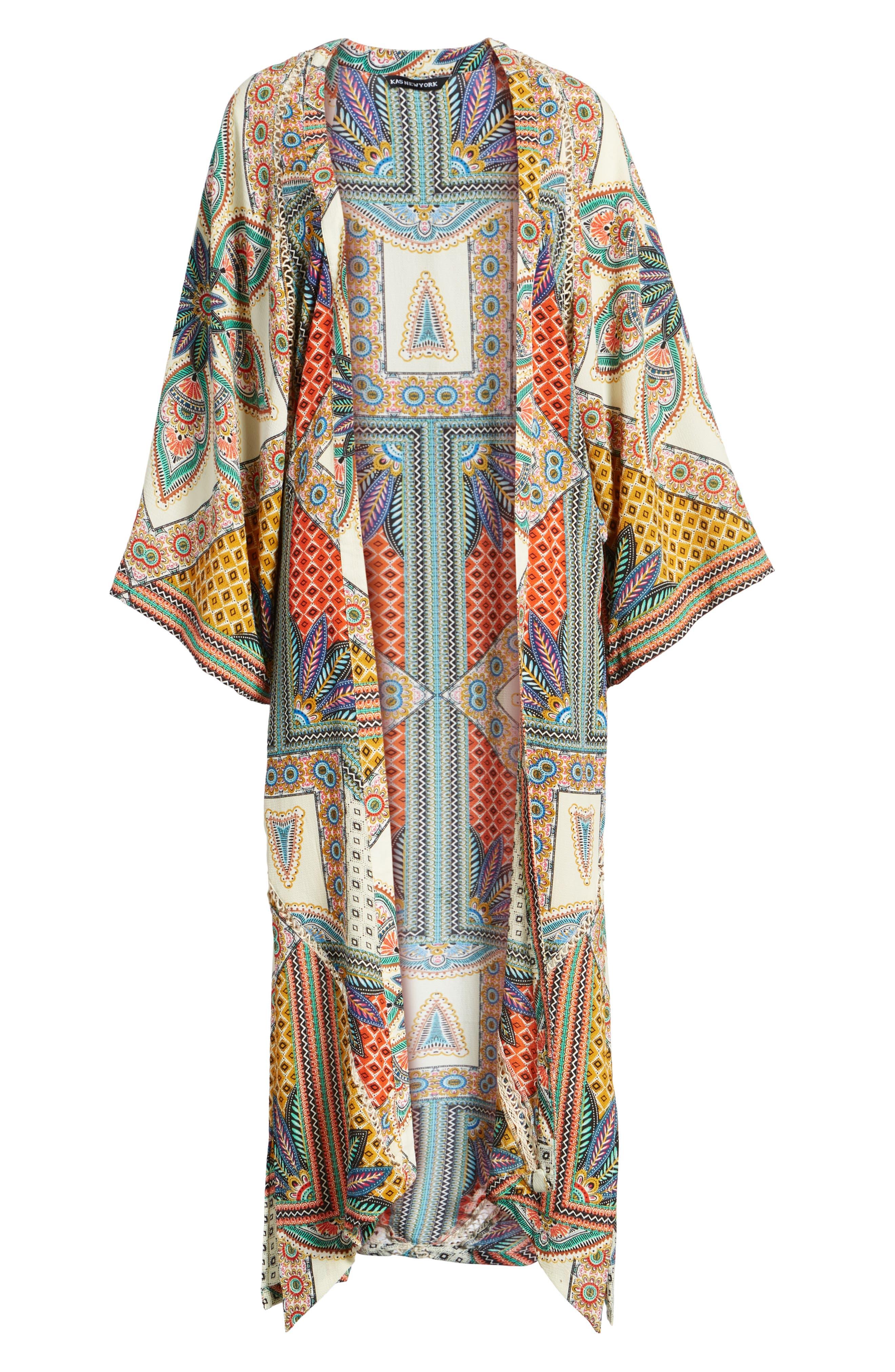 Scarf Print Kimono Jacket,                             Alternate thumbnail 7, color,                             Multi