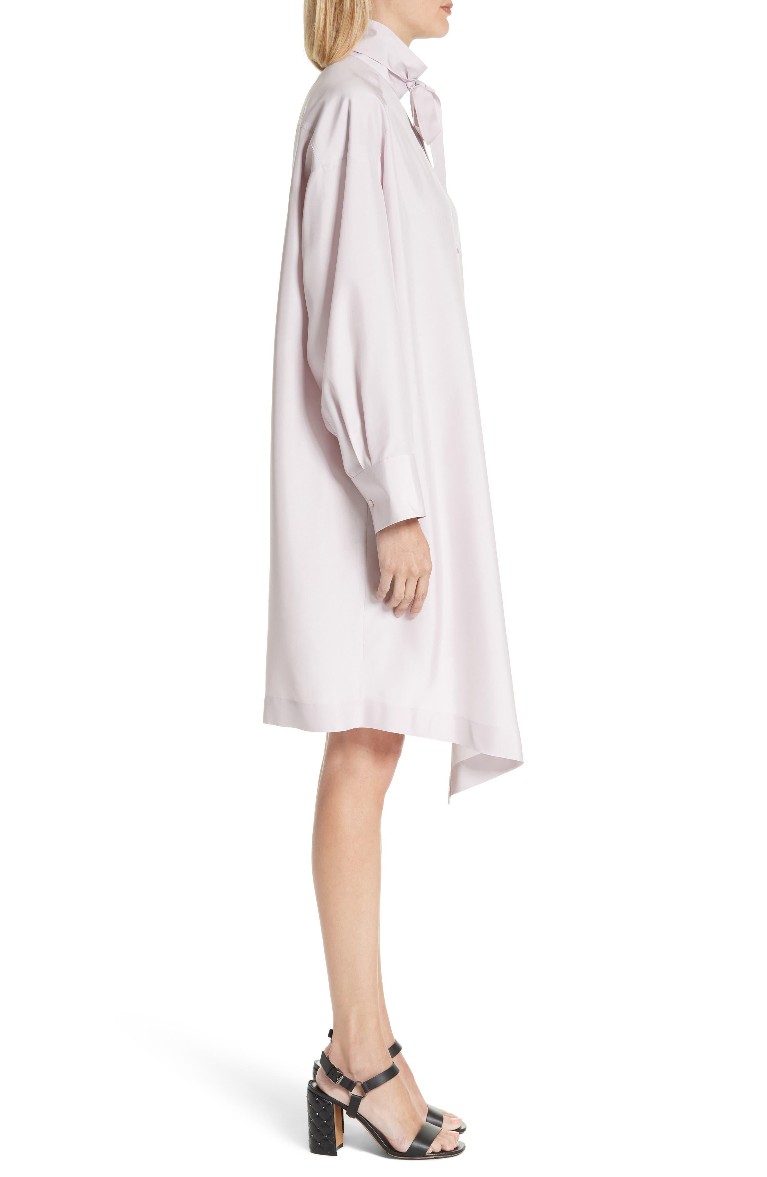 Tie Neck Silk Dress,                             Alternate thumbnail 3, color,                             Lilac