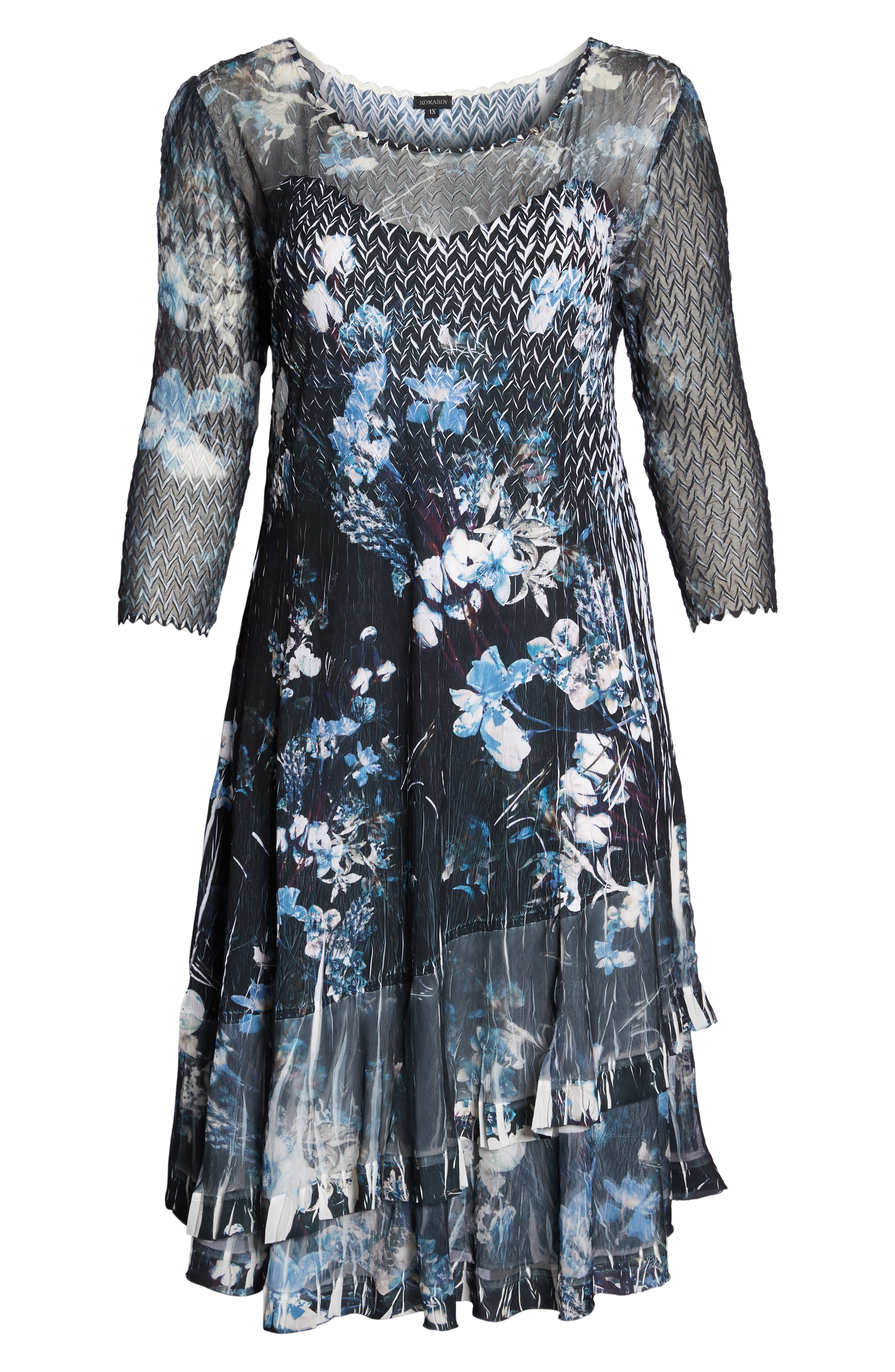 Floral Georgette & Chiffon A-Line Dress,                             Alternate thumbnail 6, color,                             India Ink