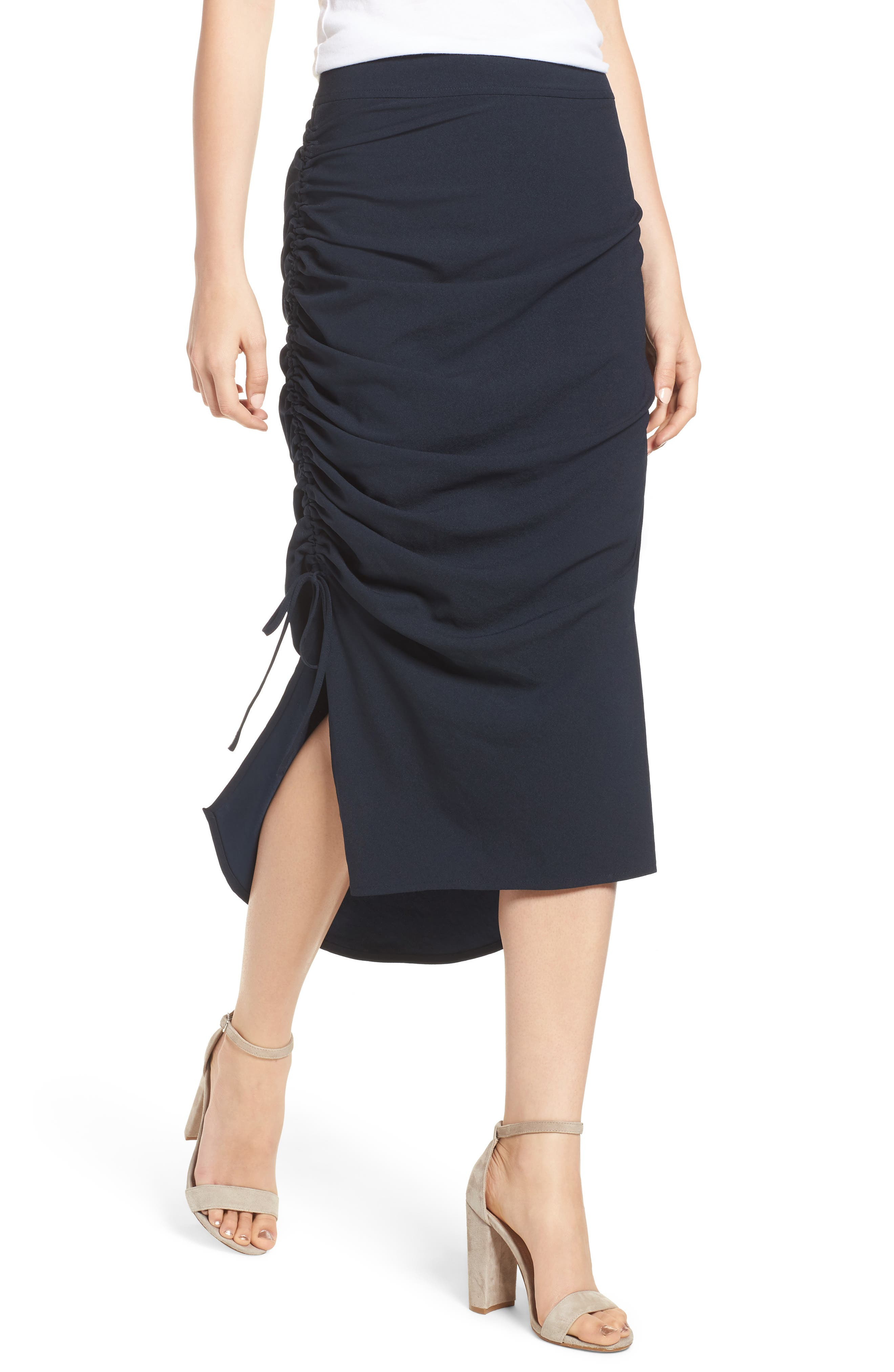 Side Shirred Skirt,                         Main,                         color, Navy Sapphire